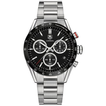 Tag Heuer Men's Carrera Black/Stainless Steel Chronograph Watch, 43mm
