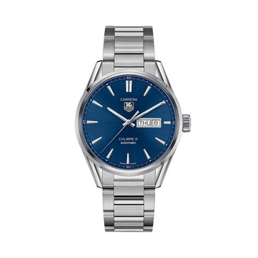 Tag Heuer Men's Carrera Calibre 5 Day-Date Blue/Polished Steel Automatic Watch, 41mm