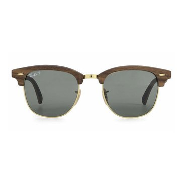 Ray Ban Men's Clubmaster Walnut Rubber Black Polar Green Sunglasses 51mm