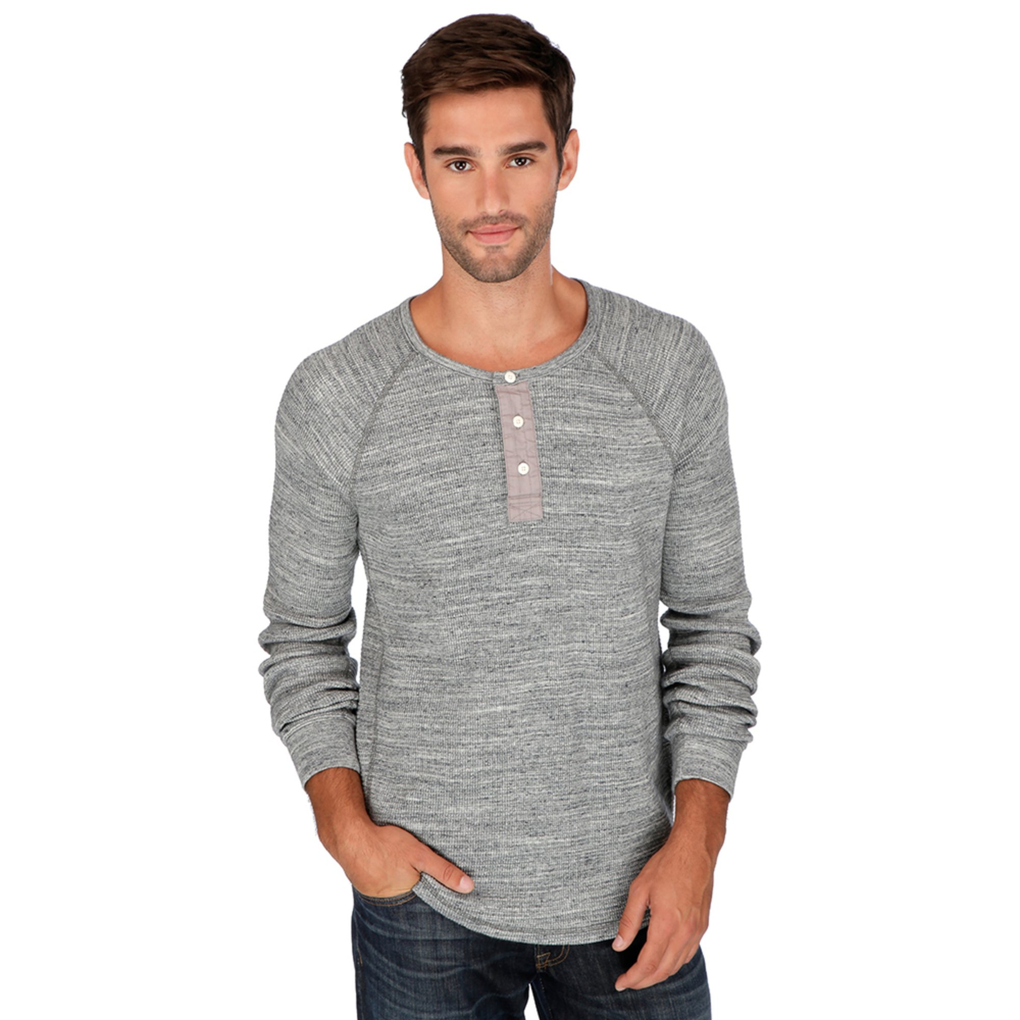 Lucky brand men 39 s long sleeve thermal henley shirt young for Men s thermal henley long sleeve shirts