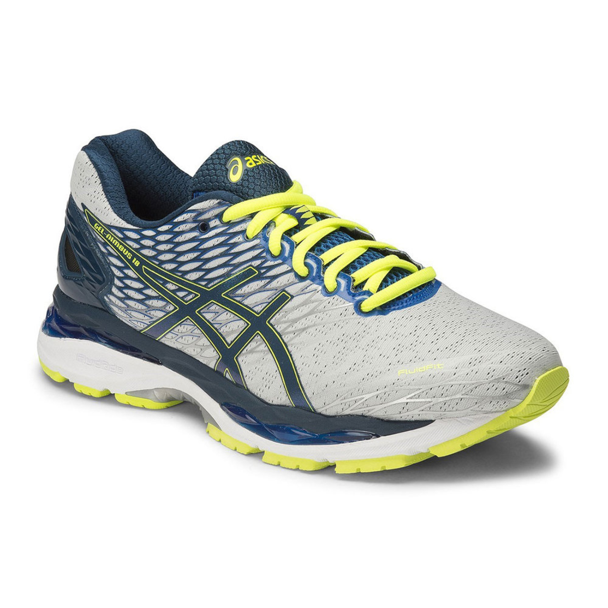 asics gel nimbus 18 men 39 s running shoe 2e silver black flash yellow shoes shop your navy. Black Bedroom Furniture Sets. Home Design Ideas