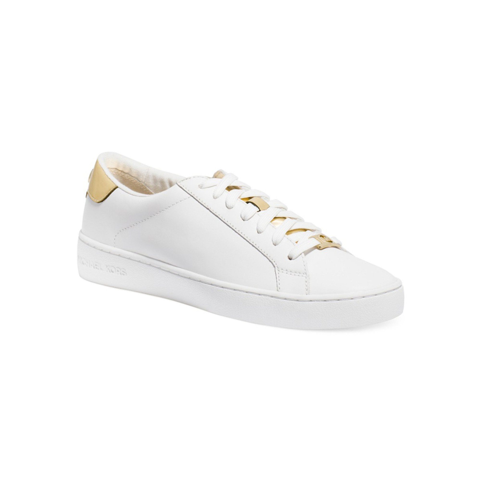 michael kors irving lace up sneaker optic white pale gold. Black Bedroom Furniture Sets. Home Design Ideas