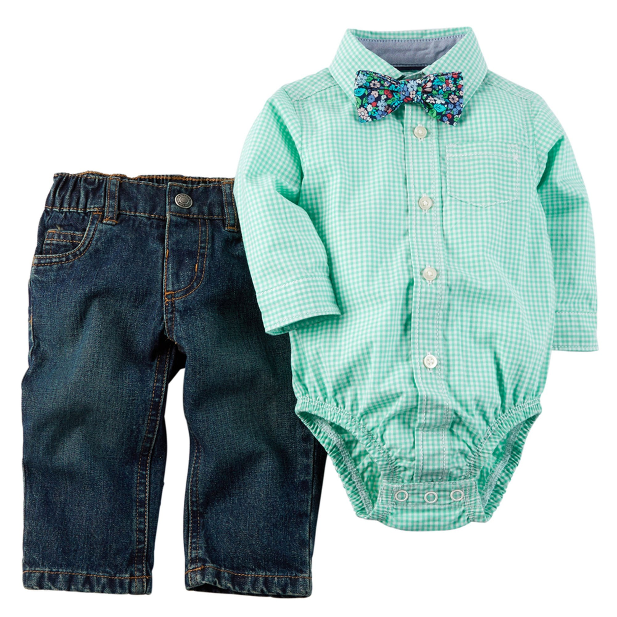 Carter 39 s baby boys 39 easter denim 3 piece shirt w tie set for Baby shirt and bow tie
