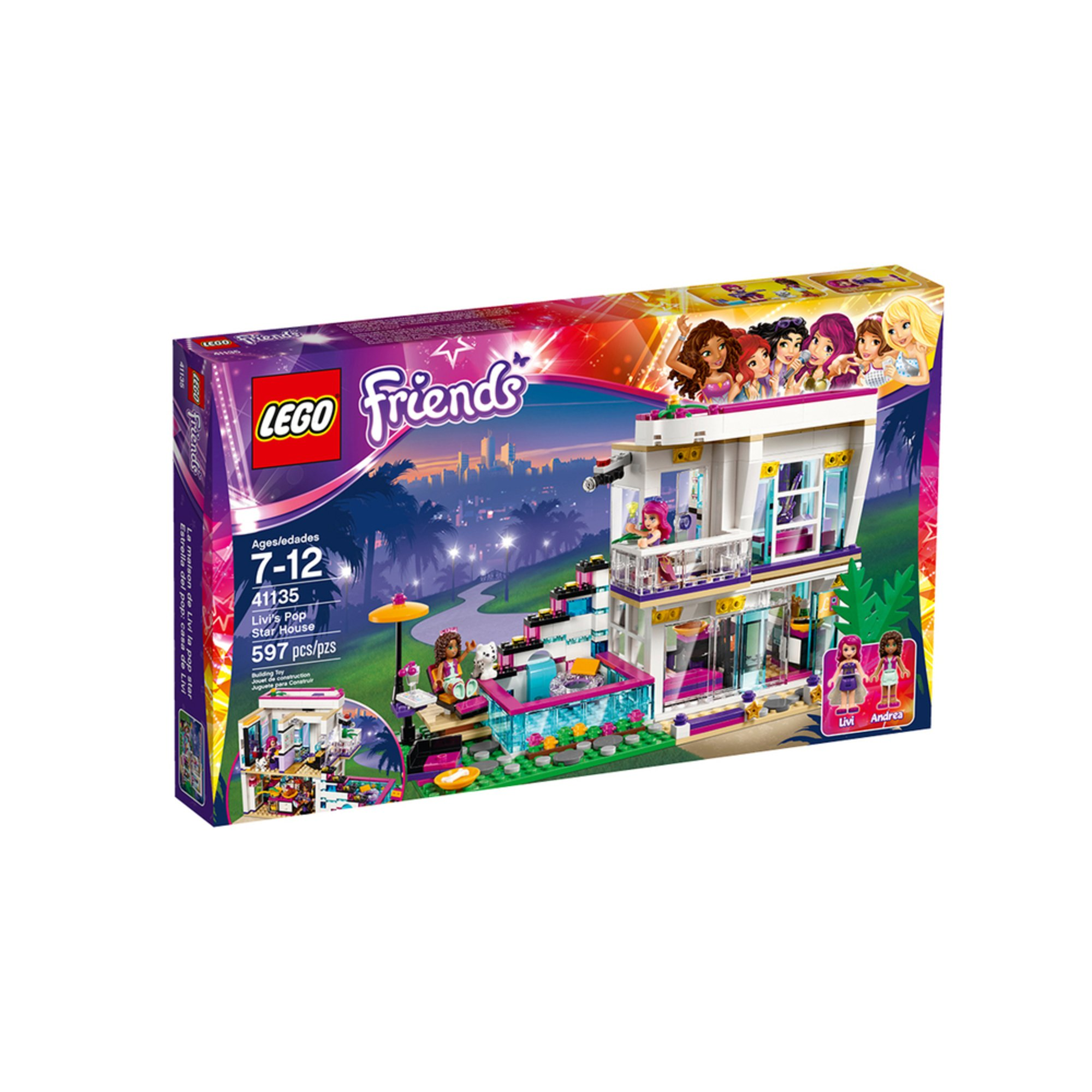 lego friends livi 39 s pop star villa 41135 building sets. Black Bedroom Furniture Sets. Home Design Ideas