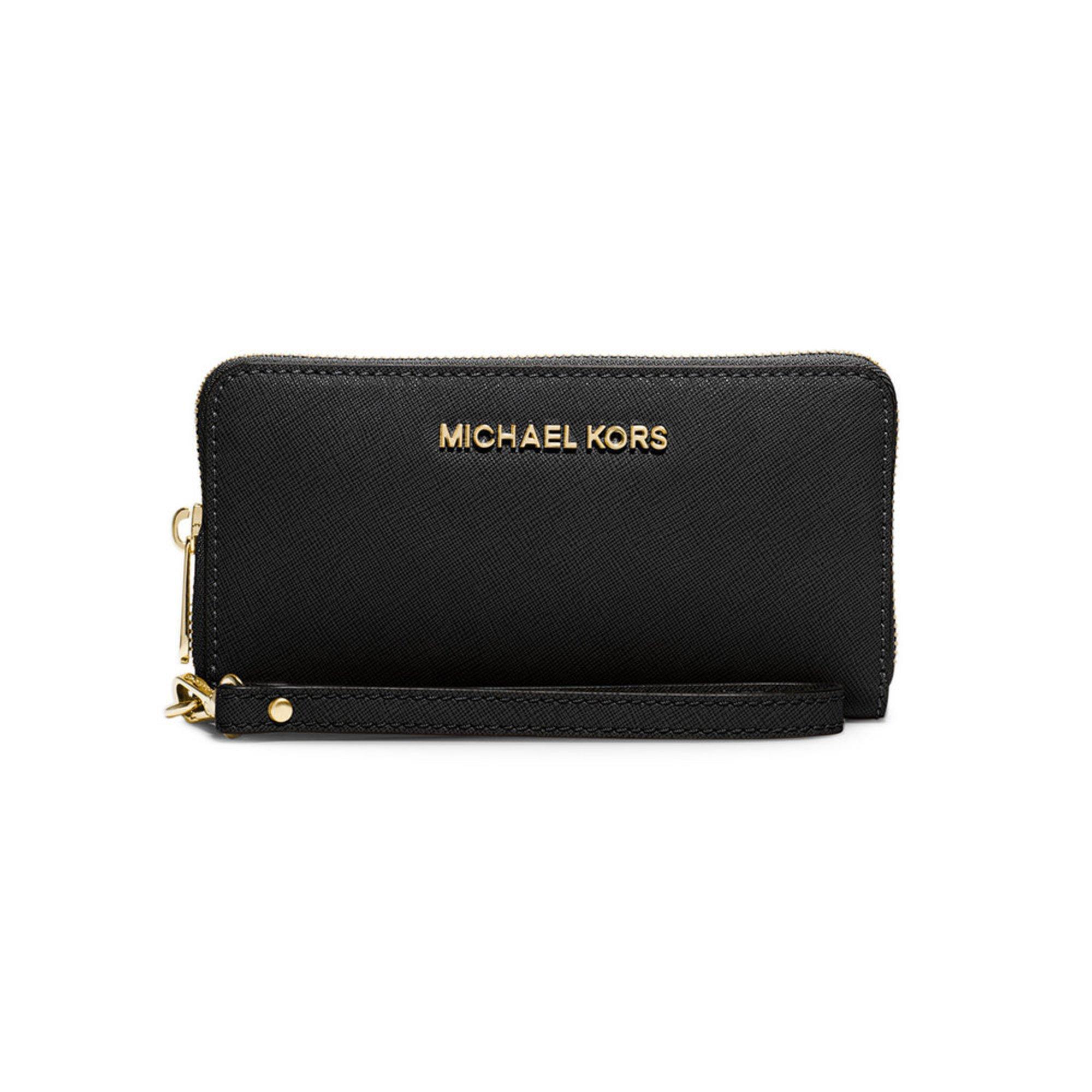 3bd7b4033ee1bf Michael Kors Jet Set Travel Large Flat Multifunction Phone Case Saffiano  Black | Wristlets | Handbags & Sunglasses - Shop Your Navy Exchange -  Official Site