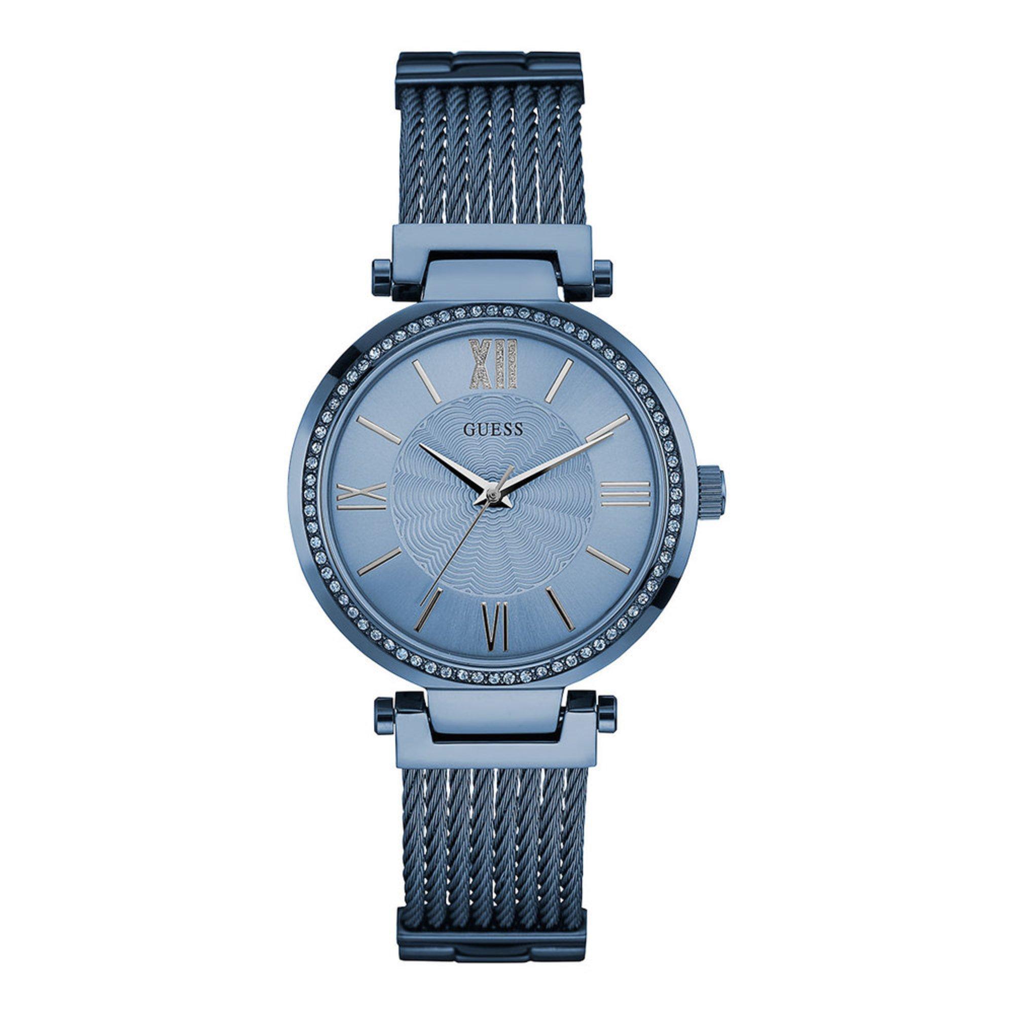 02e5c9aff401 Guess Women s Sky Blue Tone Stainless Steel Bracelet Watch