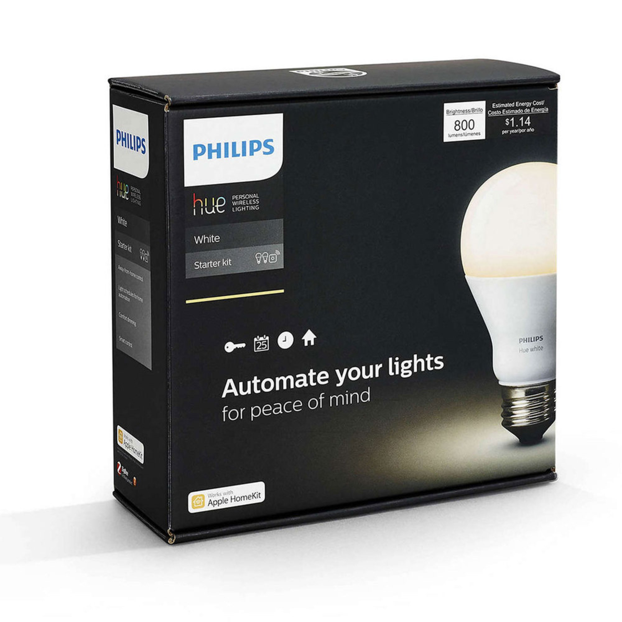 philips hue white a19 starter kit 455287 smart. Black Bedroom Furniture Sets. Home Design Ideas