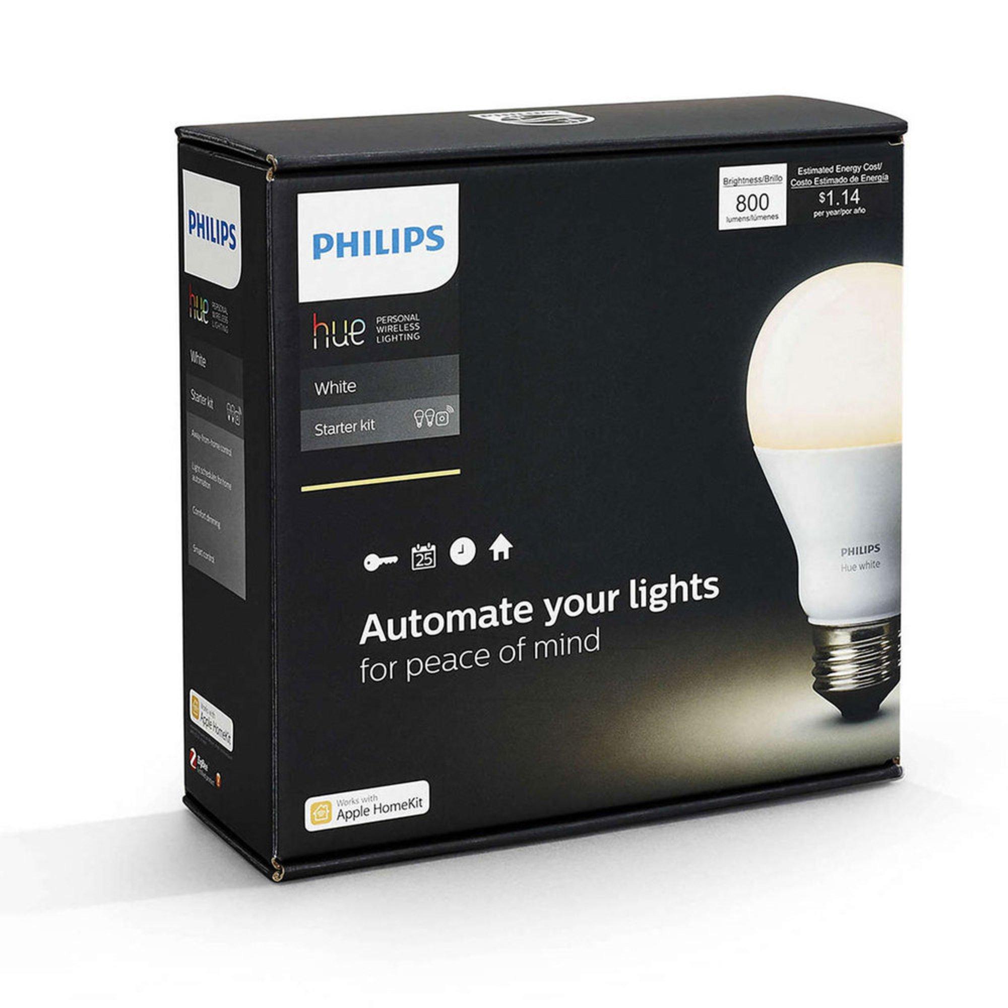 philips hue white a19 starter kit 455287 smart lighting electronics shop your navy. Black Bedroom Furniture Sets. Home Design Ideas