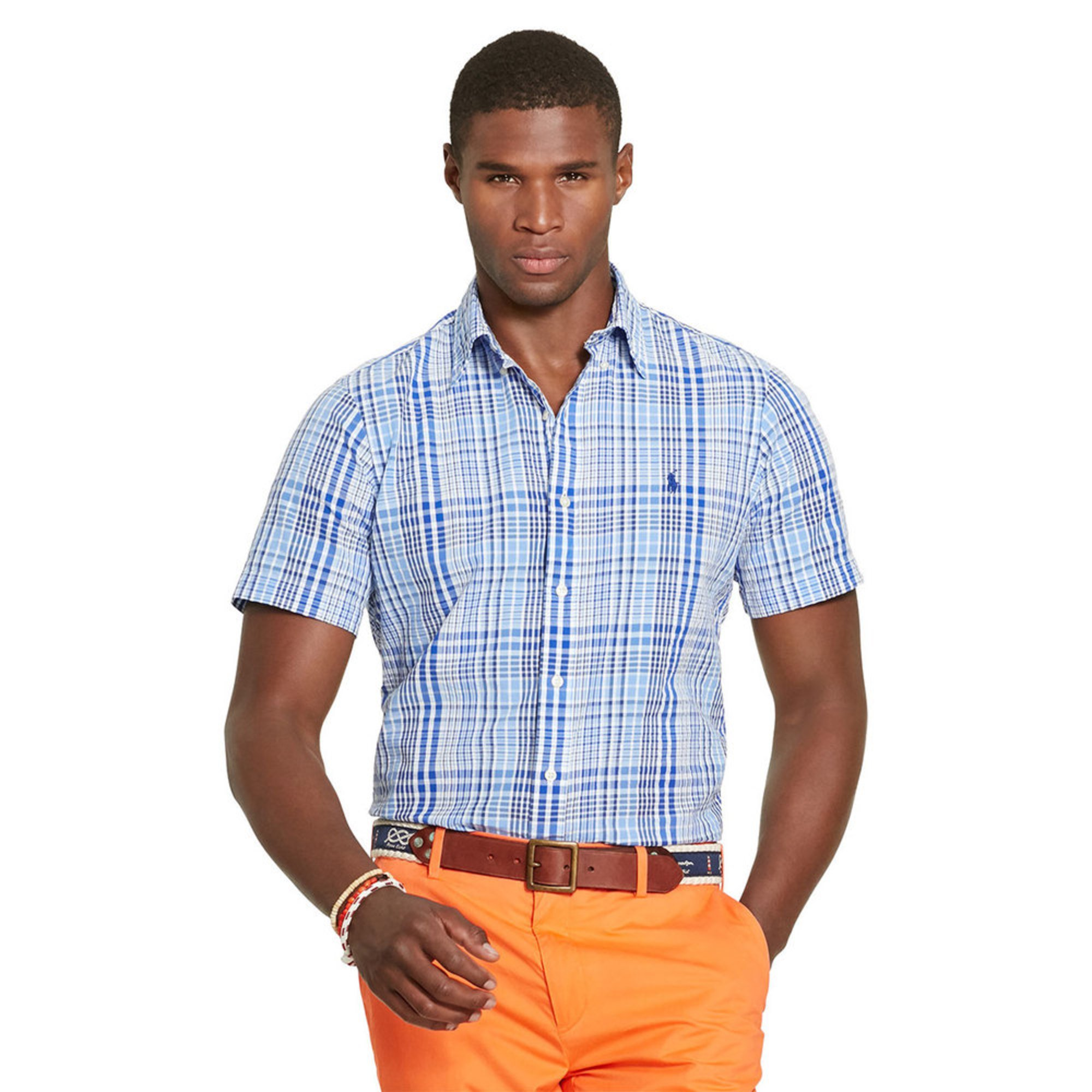 Polo ralph lauren men 39 s short sleeve plaid seersucker for Mens seersucker shirts on sale