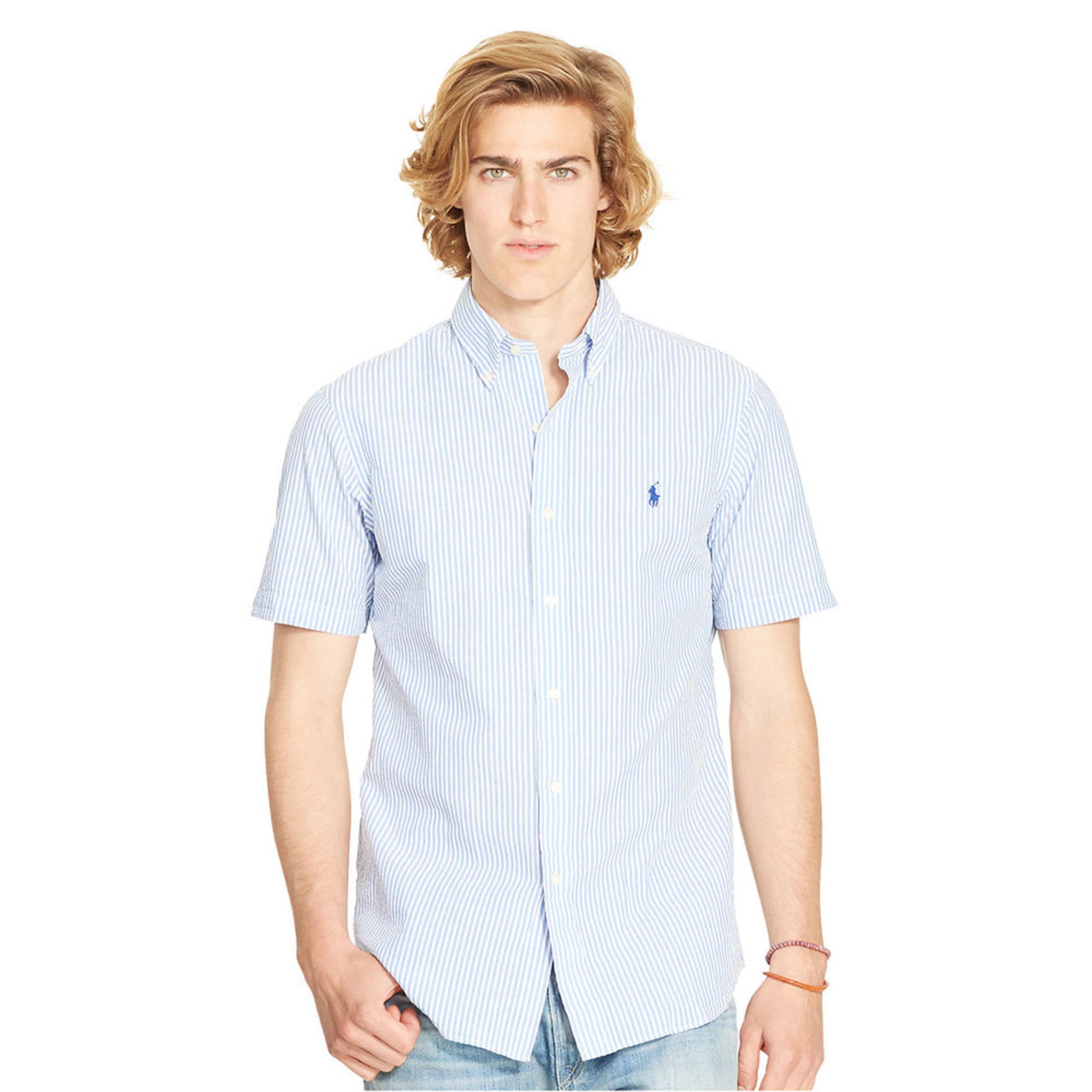 Polo ralph lauren men 39 s seersucker short sleeve shirt for Mens seersucker shirts on sale