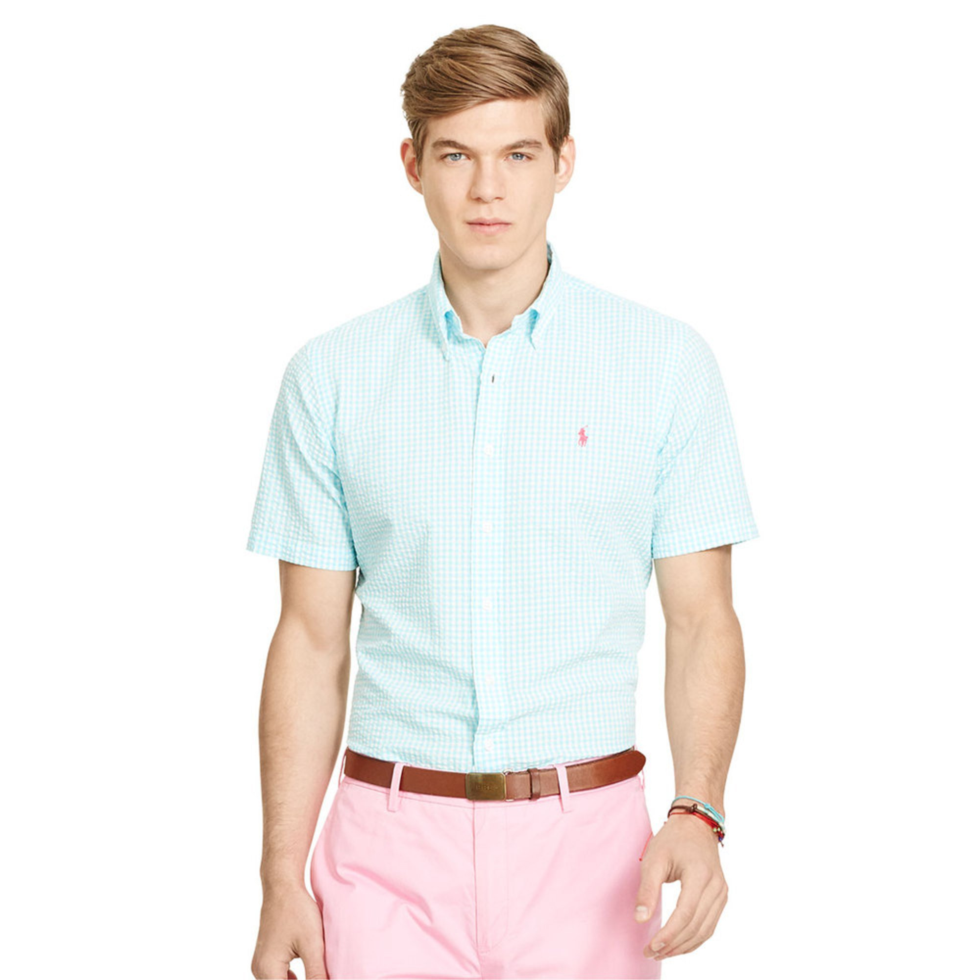 Polo ralph lauren men 39 s seersucker short sleeve shirt for Mens short sleeve seersucker shirts