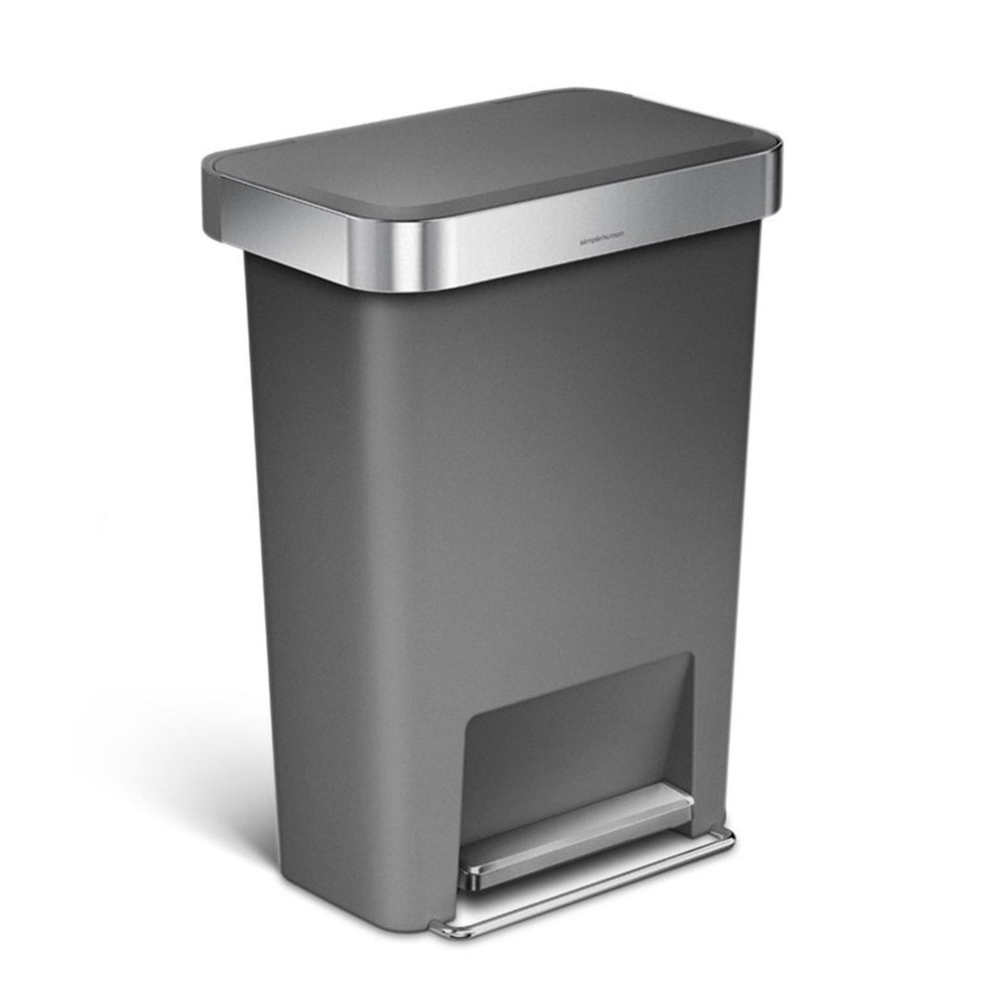 simplehuman 45 liter rectangle step can with liner pocket k liner trash cans recycling bins. Black Bedroom Furniture Sets. Home Design Ideas