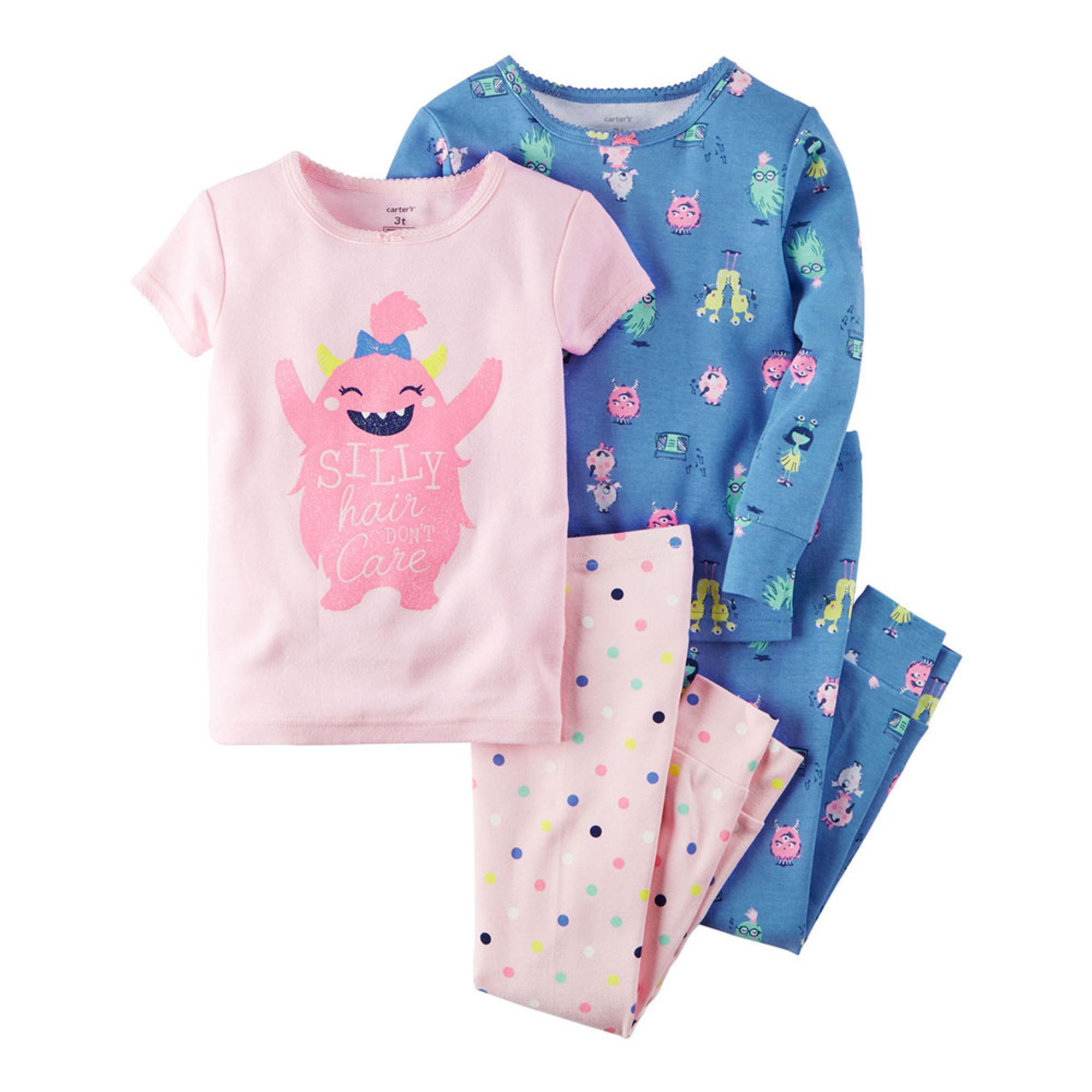 Carter's Toddler Girls' Hair Monster 4-piece Cotton Pajama ...