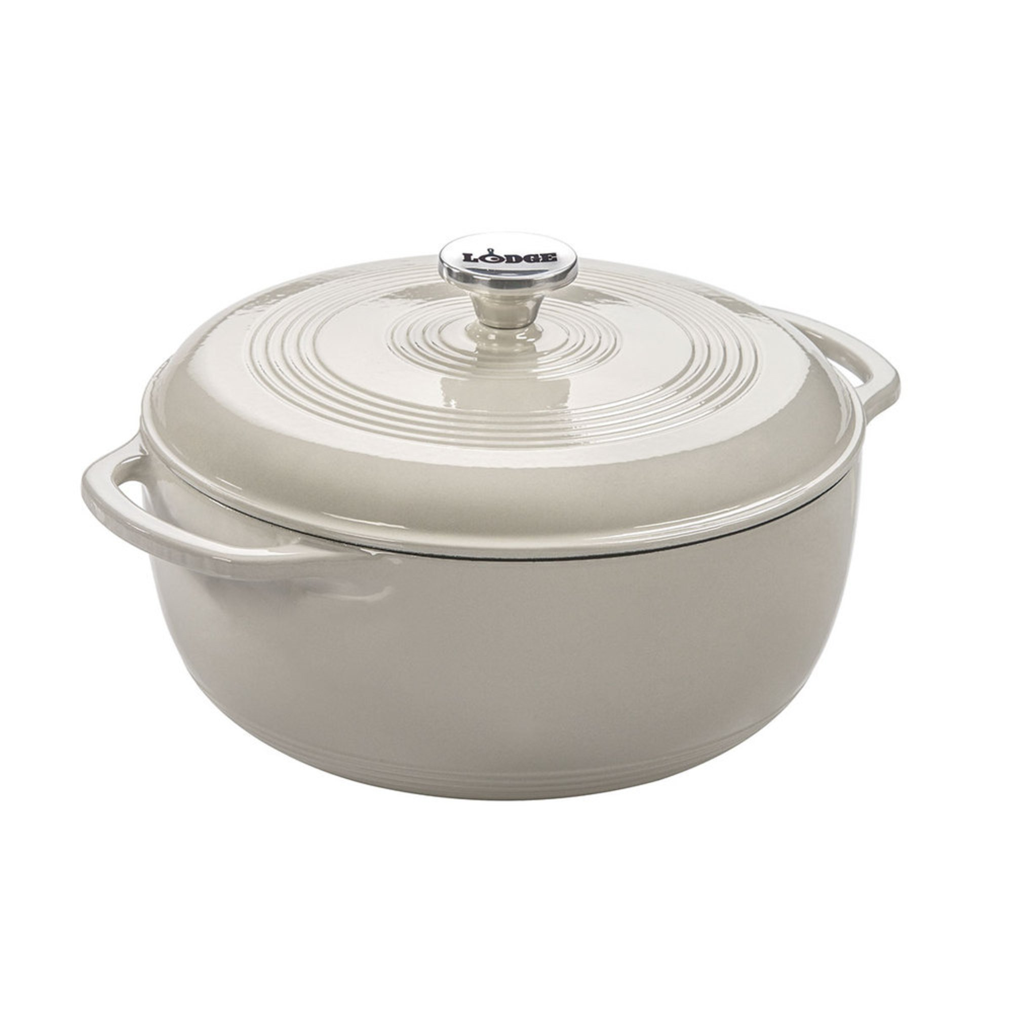 lodge 6 quart enameled cast iron dutch oven oyster white dutch ovens casseroles shop your. Black Bedroom Furniture Sets. Home Design Ideas