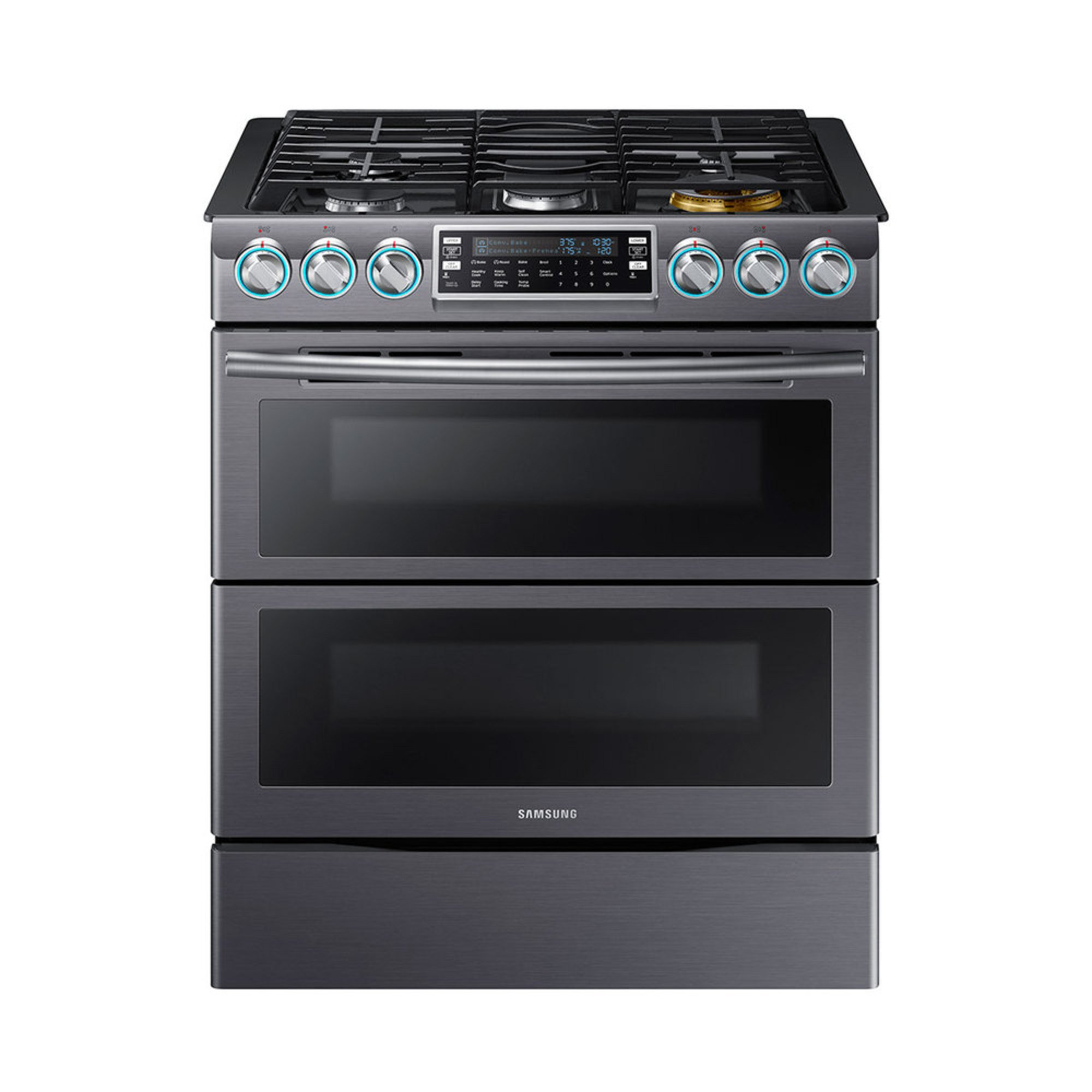 Samsung 5 8 slide in double oven gas range black stainless steel nx58k9850sg gas - Gas stove double oven reviews ...