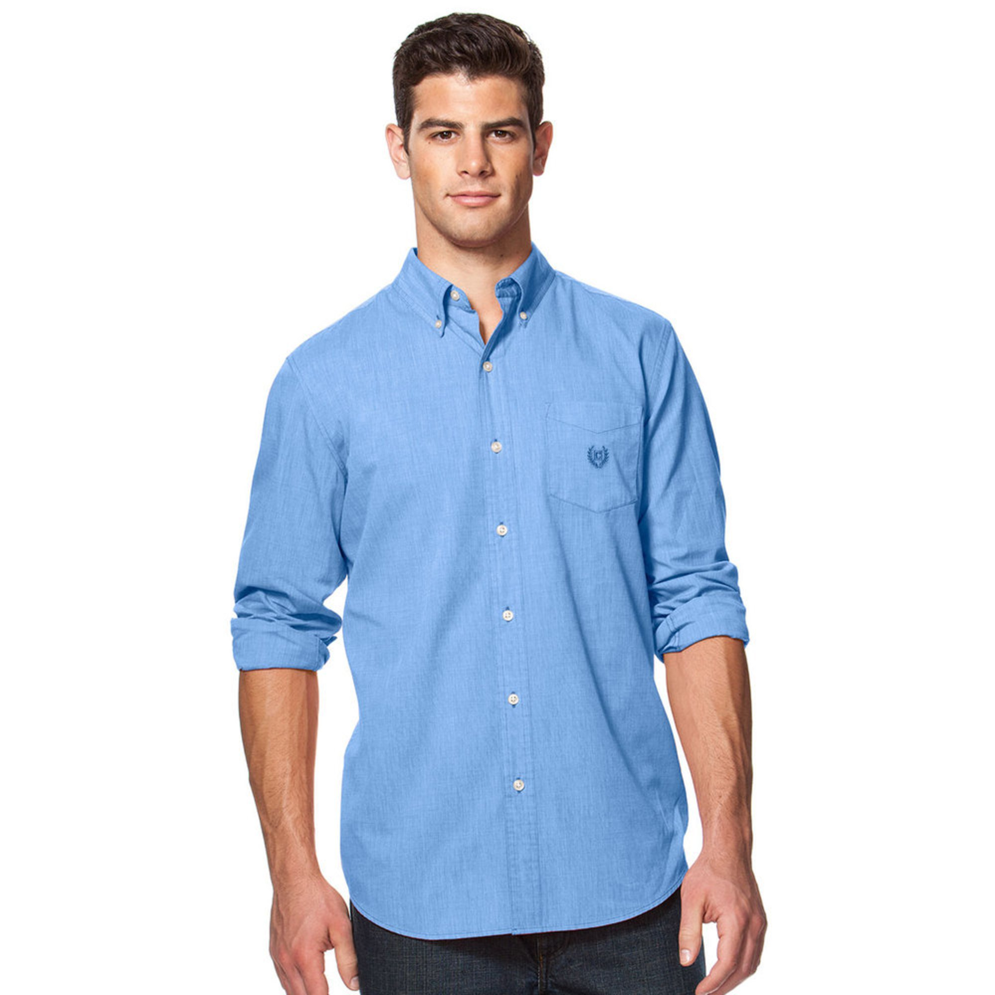 Chaps easy care sports shirts blue men 39 s woven button for Chaps shirts on sale