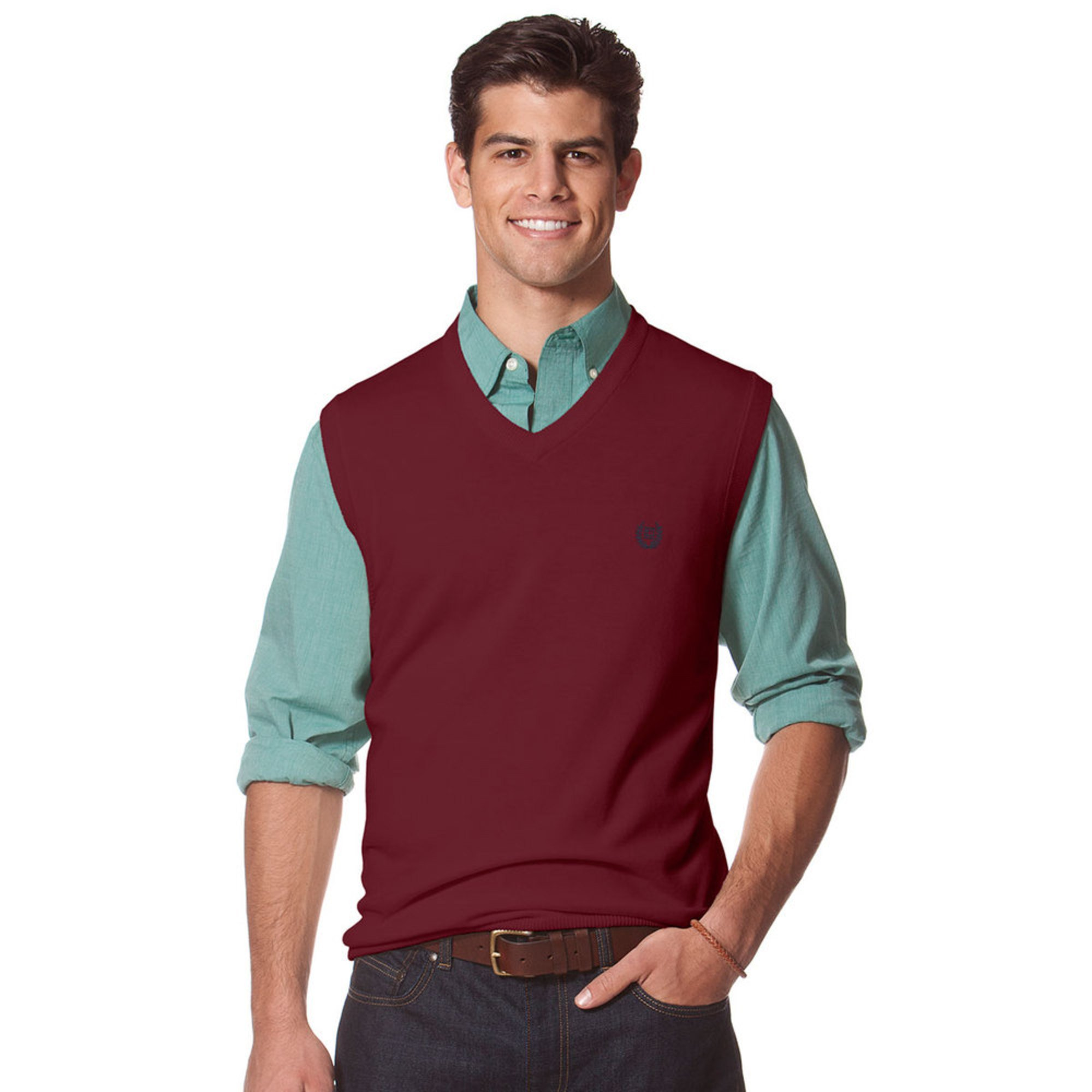 chaps s v neck solid sweater vest s clothing