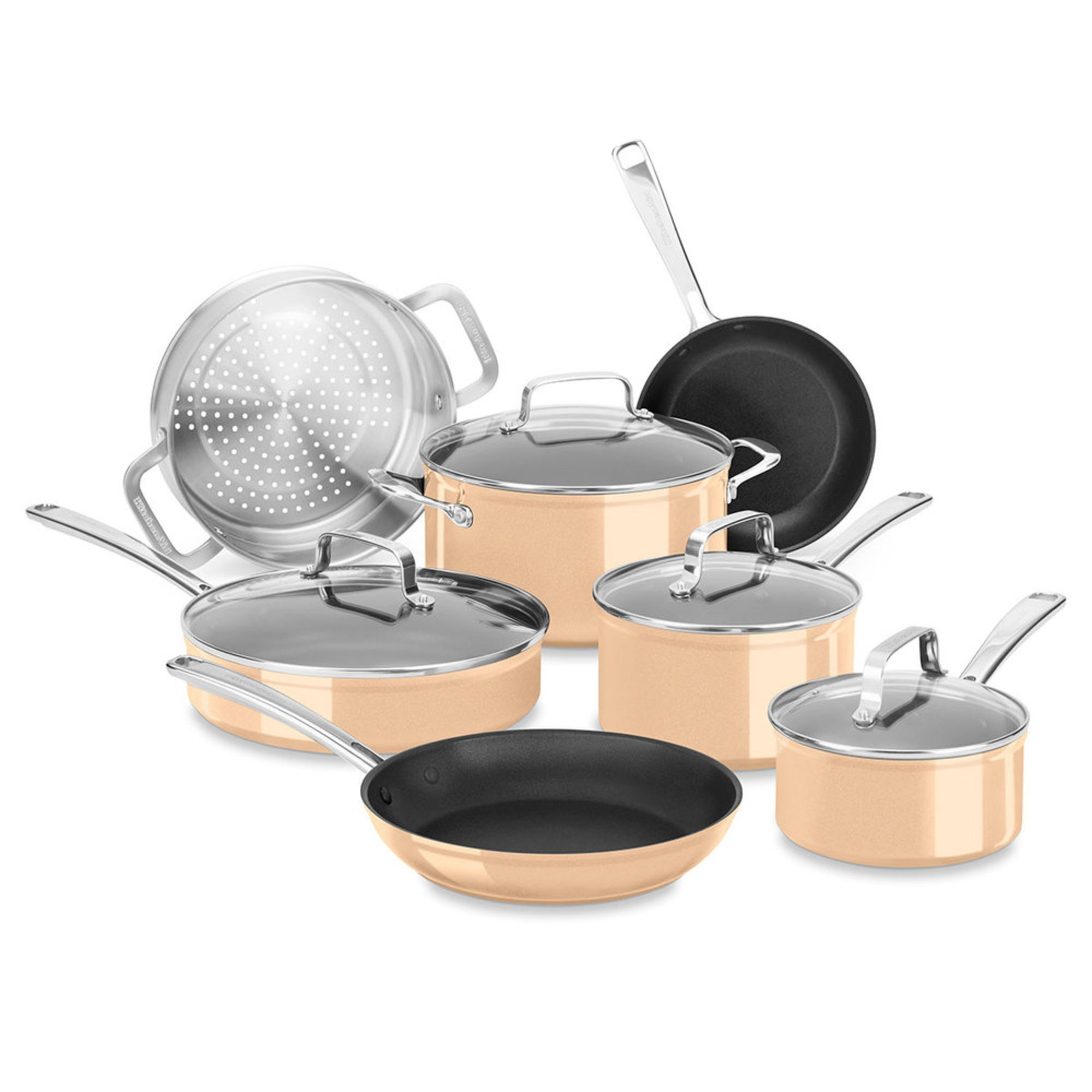 kitchenaid hard anodized 11 piece cookware set toffee cookware sets for the home shop. Black Bedroom Furniture Sets. Home Design Ideas