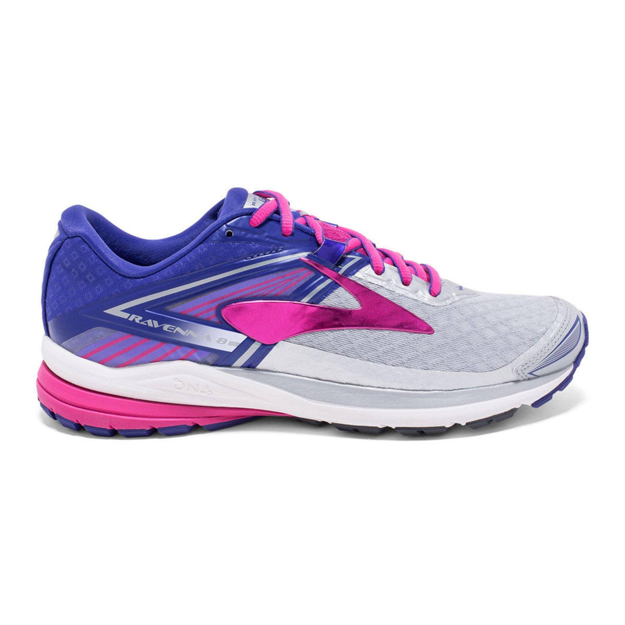 Brooks. Brooks Ravenna 8 Women's Running Shoe Silver/ Clematis Blue/ Very  Berry