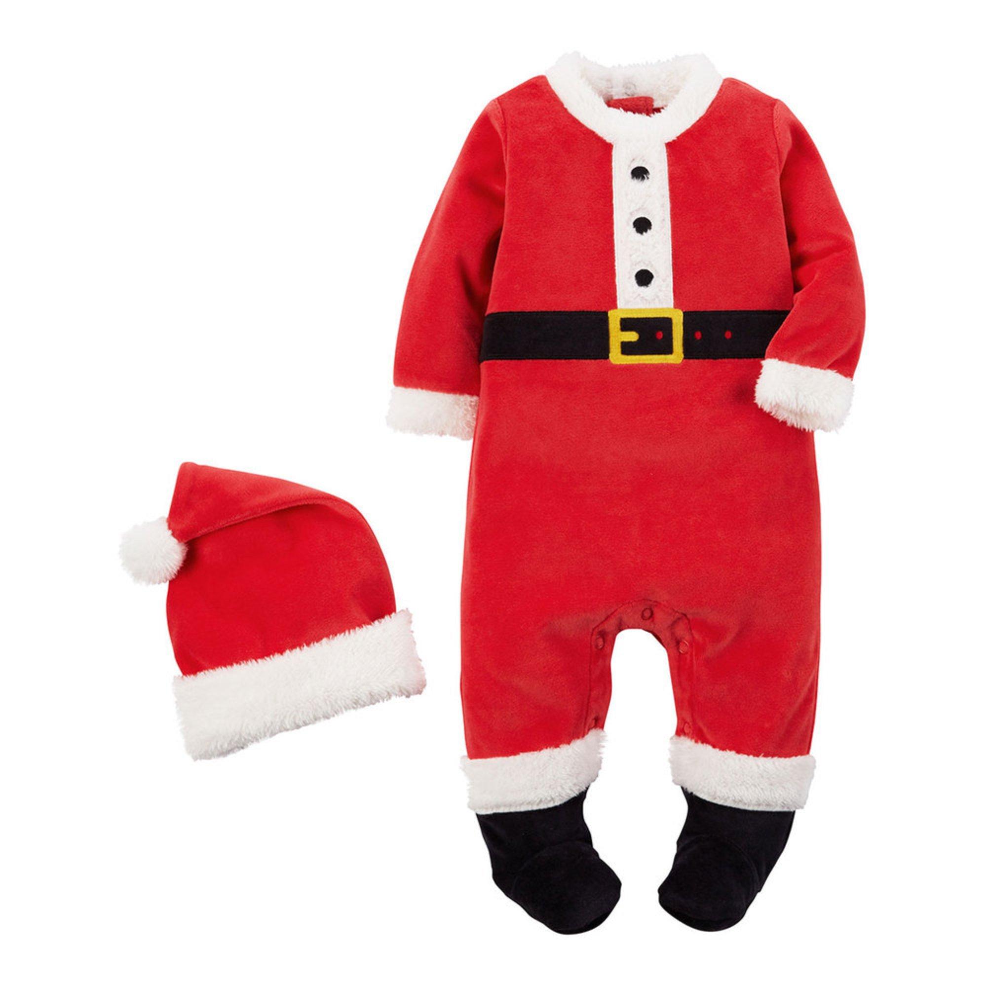 Carter's Newborn 2-piece Velour Sleep N Play, Santa Suit ...