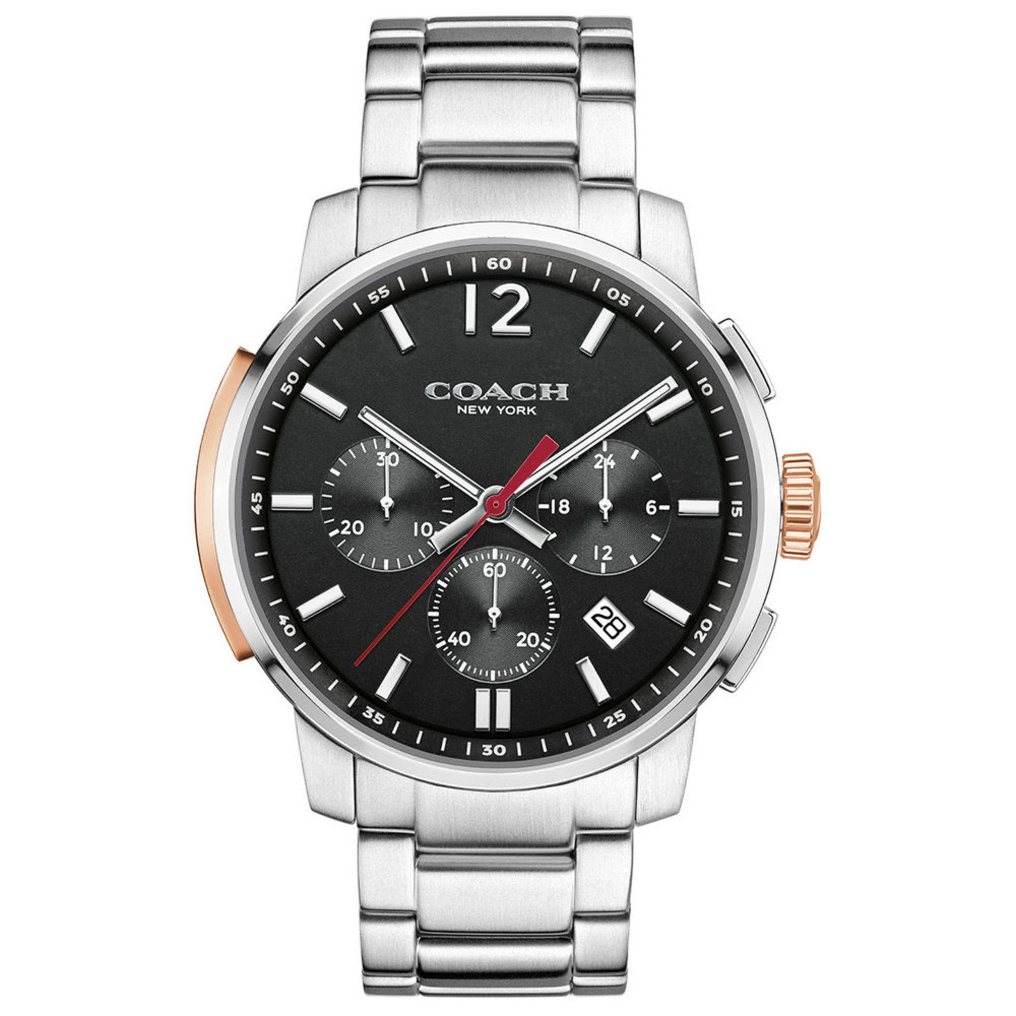 Coach men 39 s bleecker chronograph watch black stainless steel 42mm men 39 s watches handbags for Watches clearance