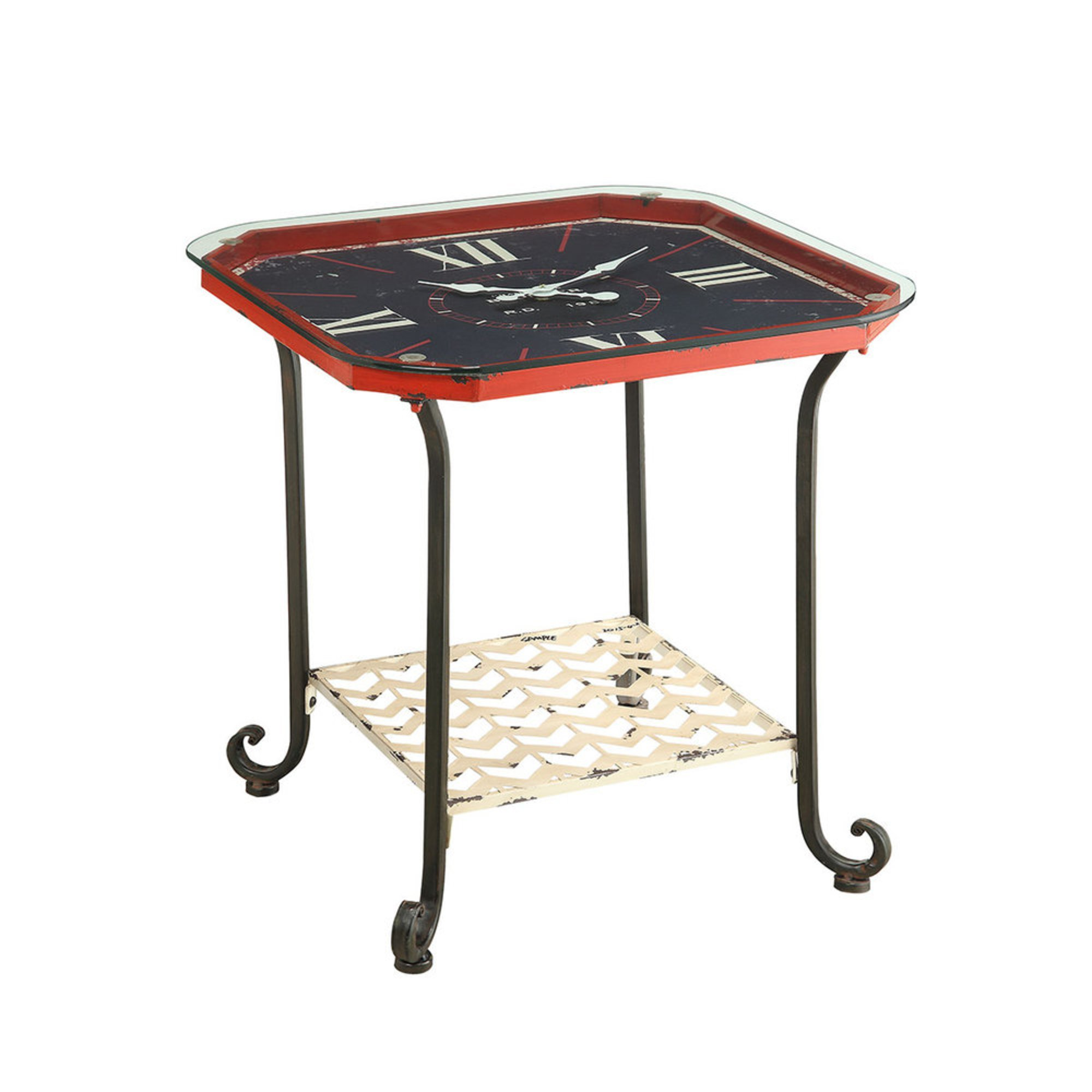 Octagon Clock End Table Red Side Tables For The Home