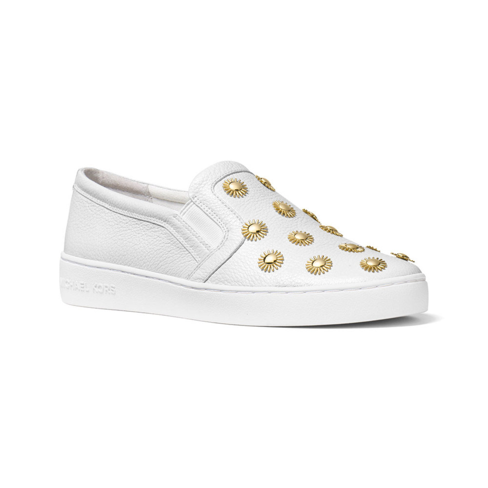 michael kors leo women 39 s slip on sneaker optic white shoes shop your navy exchange. Black Bedroom Furniture Sets. Home Design Ideas
