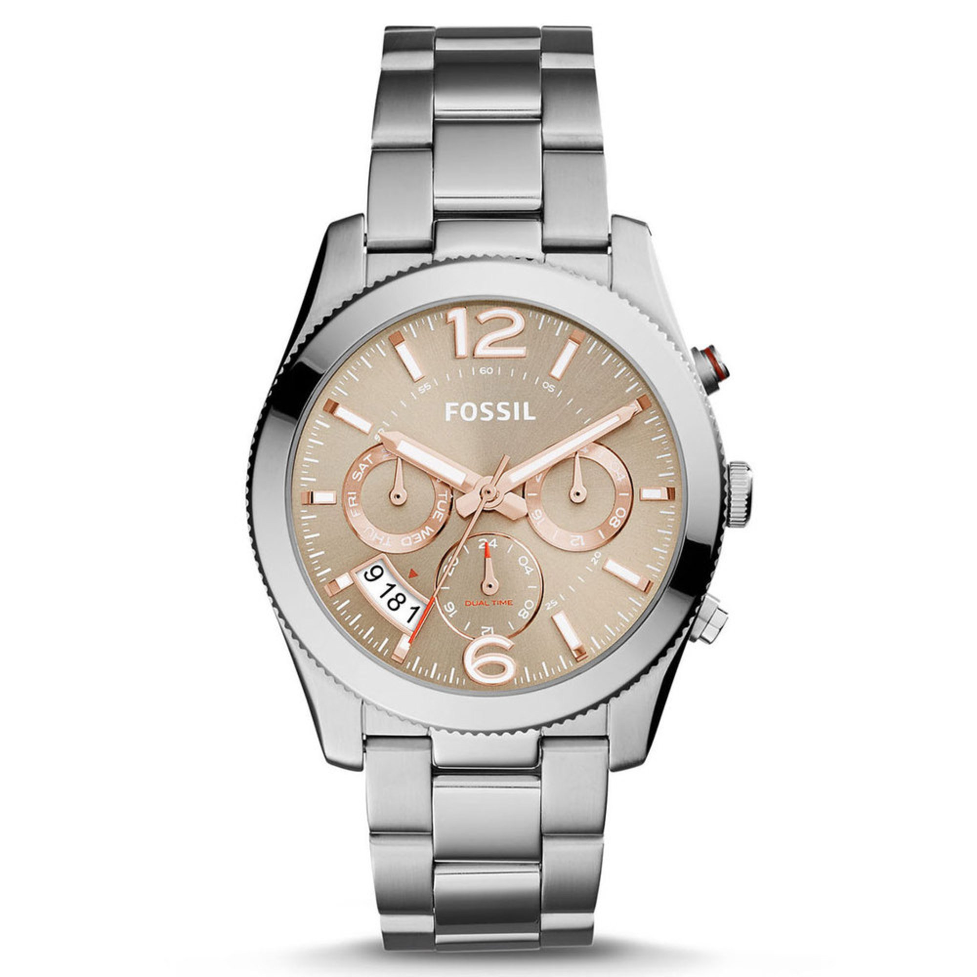 fossil s boyfriend stainless steel taupe