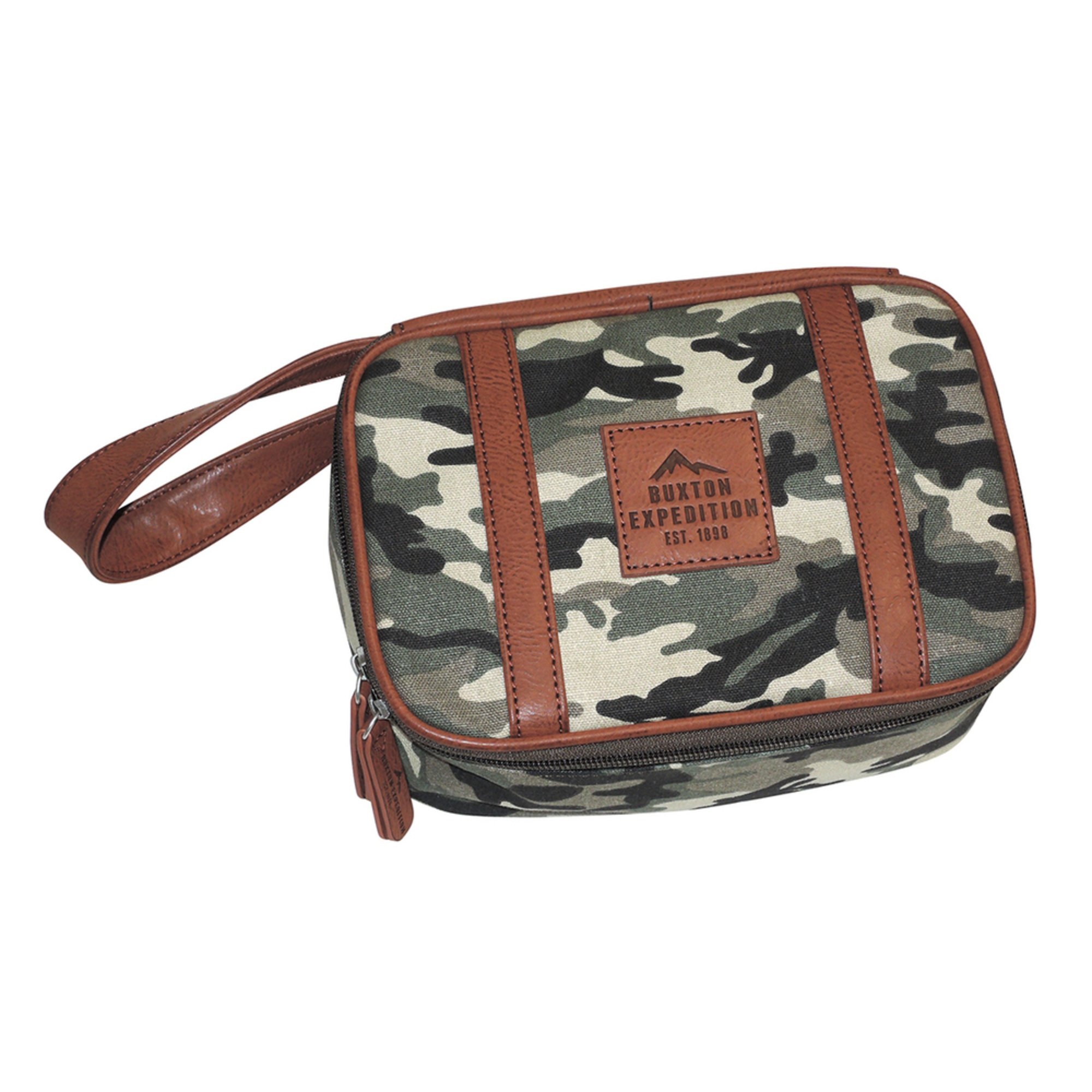 Buxton men 39 s expedition huntington gear top zip travel kit camo men 39 s accessories apparel for Travel expedition gear