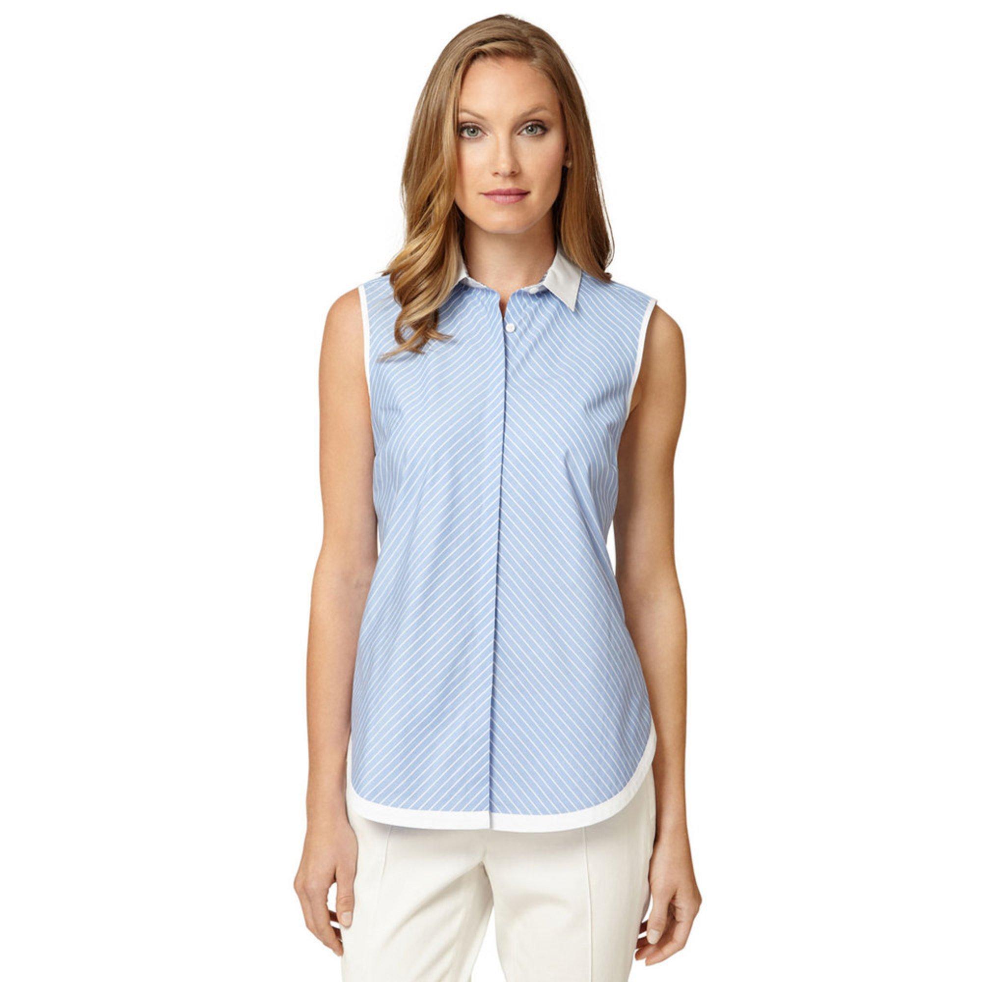 Brooks brothers custom stripe sleeveless shirt with white for Brooks brothers custom shirt