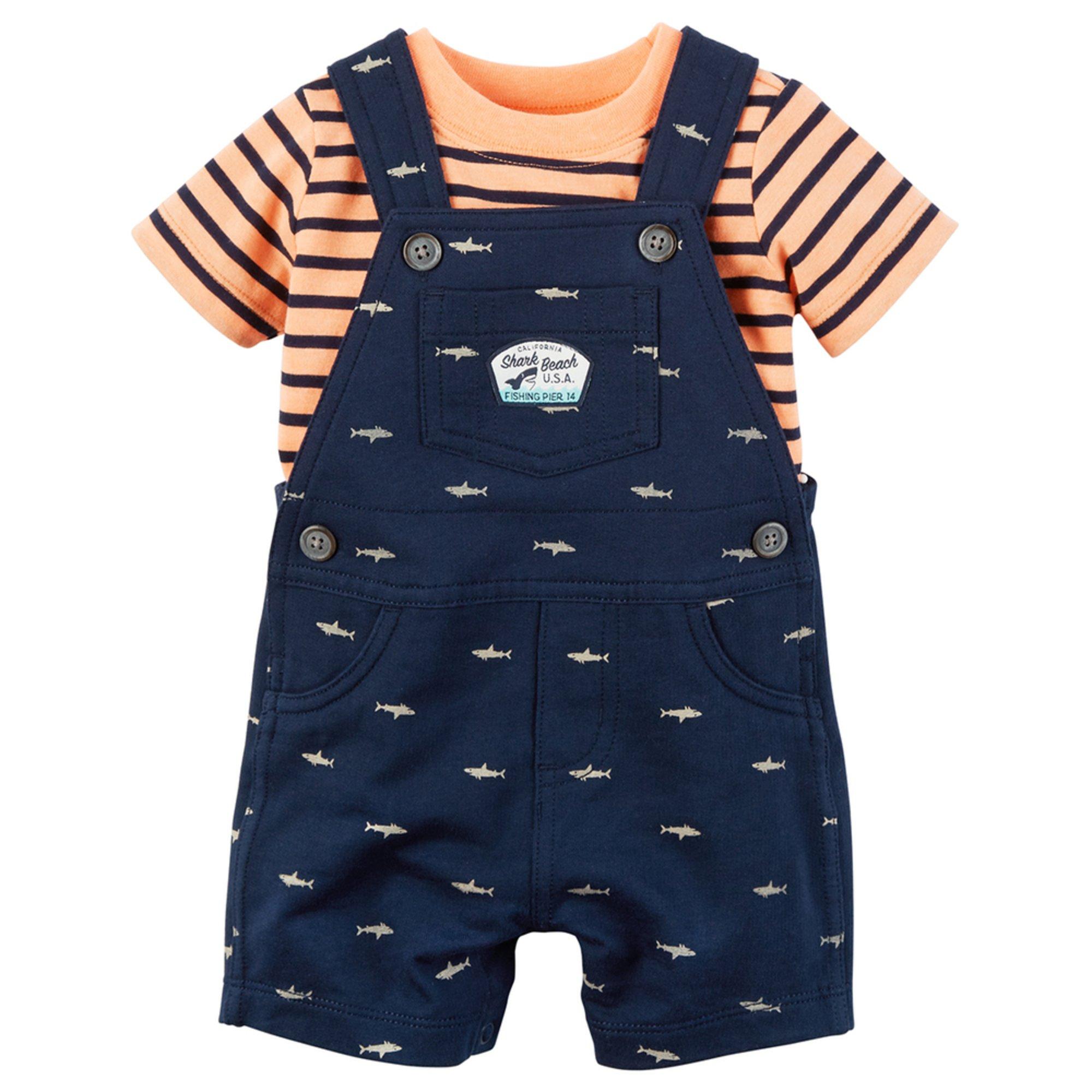 Carter's Baby Boys' 2-piece Neon Top And Shark Shortalls ...