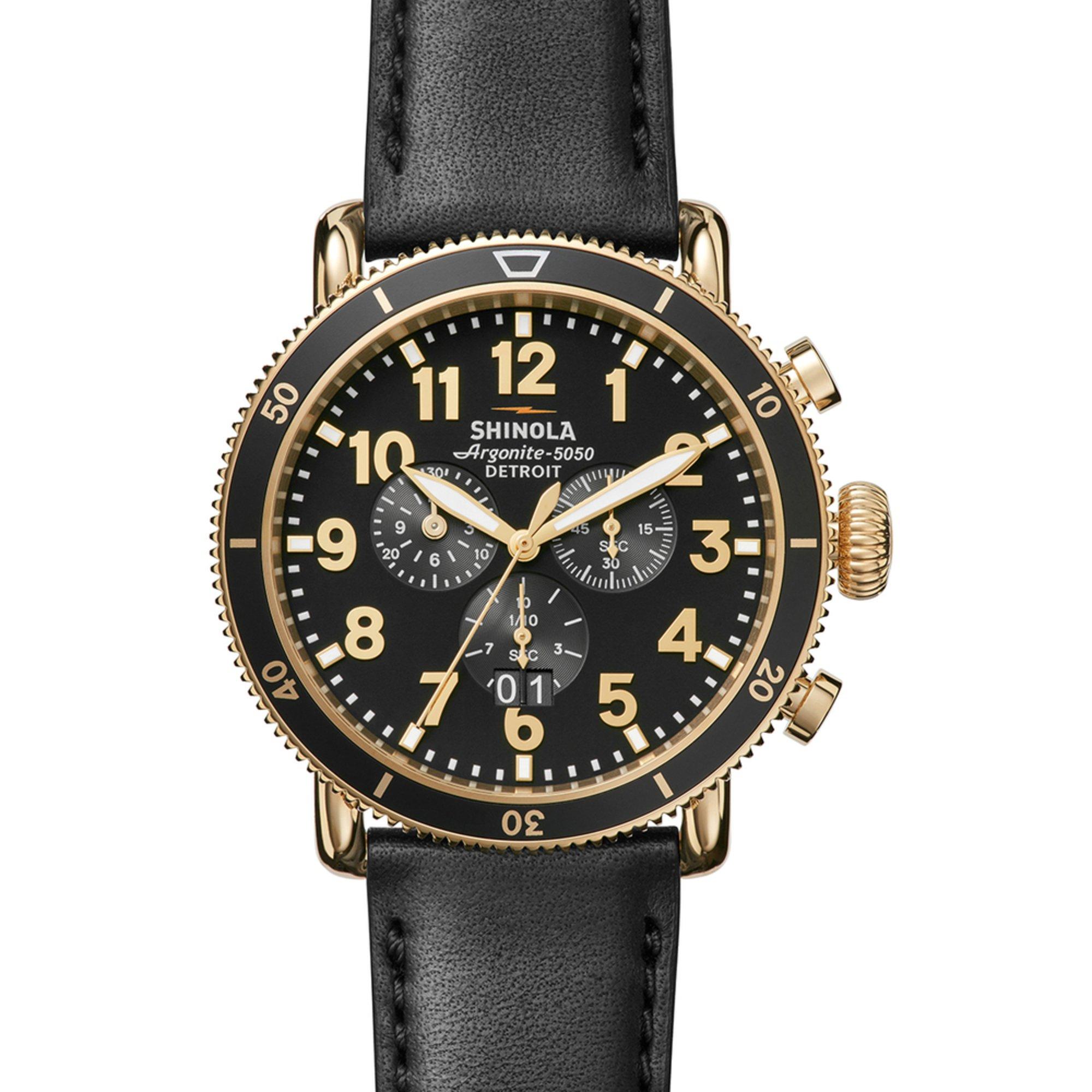 Shinola men 39 s runwell chrono watch s0120044138 midnight blue tan leather 48mm men 39 s watches for Shinola watches