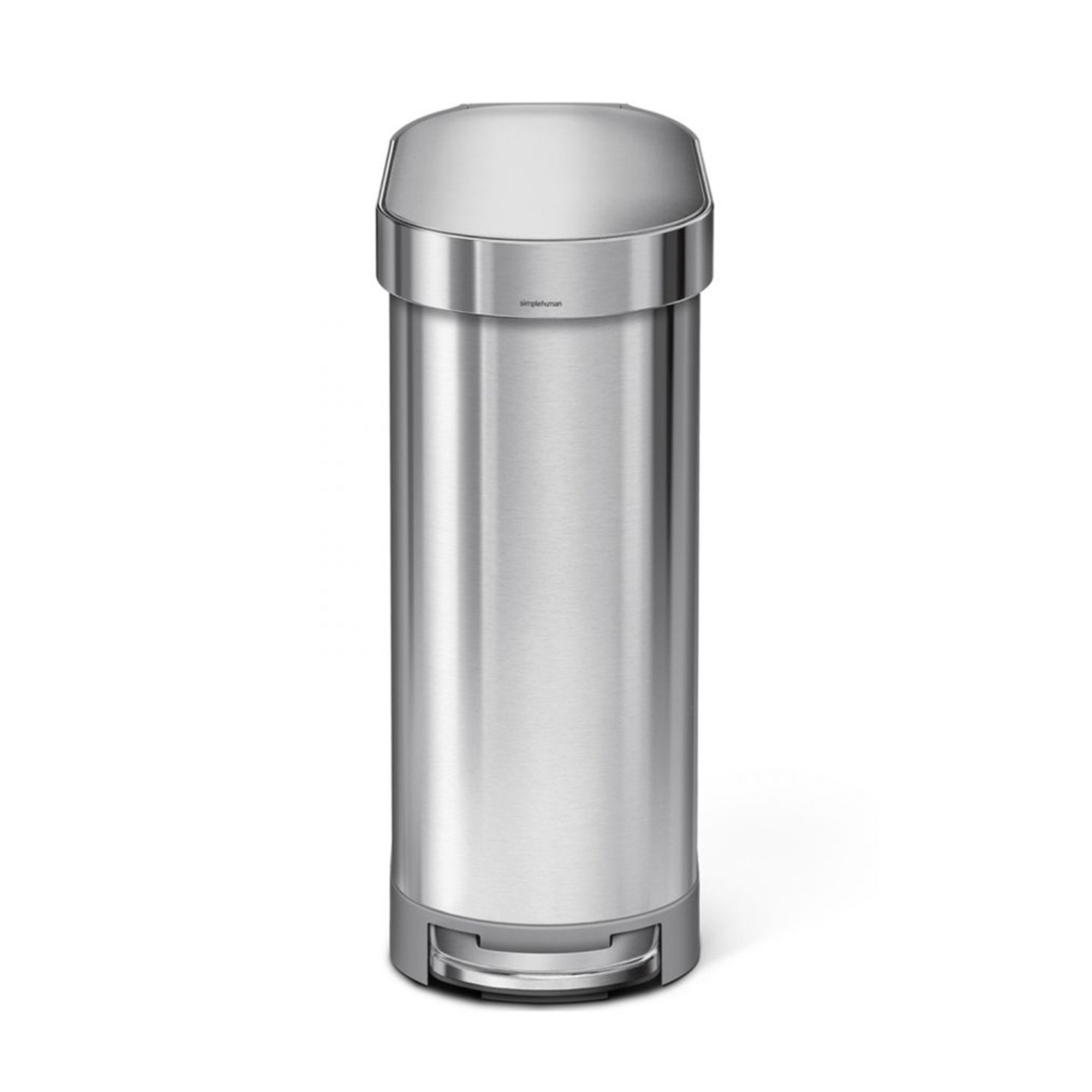 simplehuman 45 liter brushed stainless steel slim step can n liner trash cans recycling. Black Bedroom Furniture Sets. Home Design Ideas