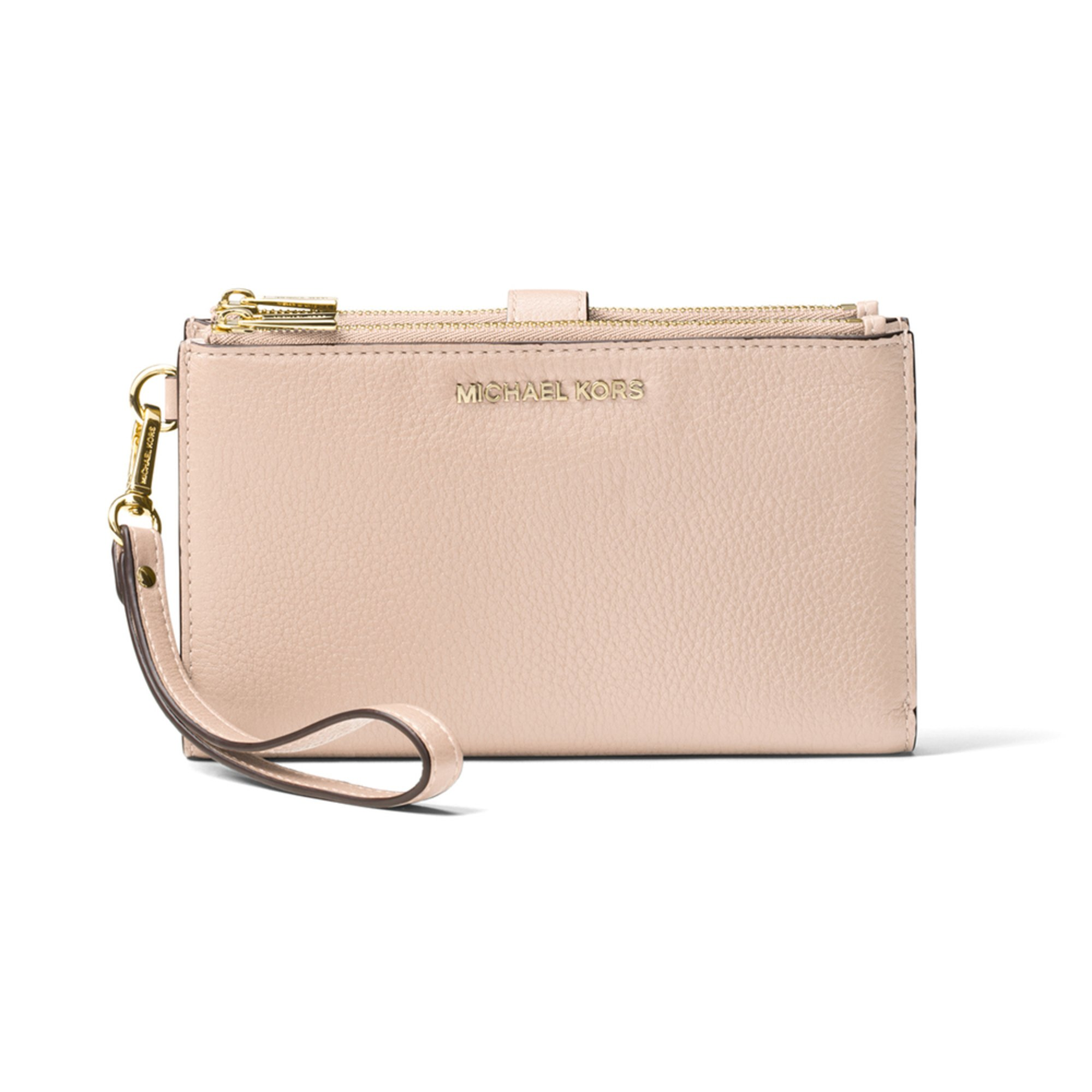 44290f16fad62 Michael Kors Adele Double Zip Wristlet 7 Plus Soft Pink