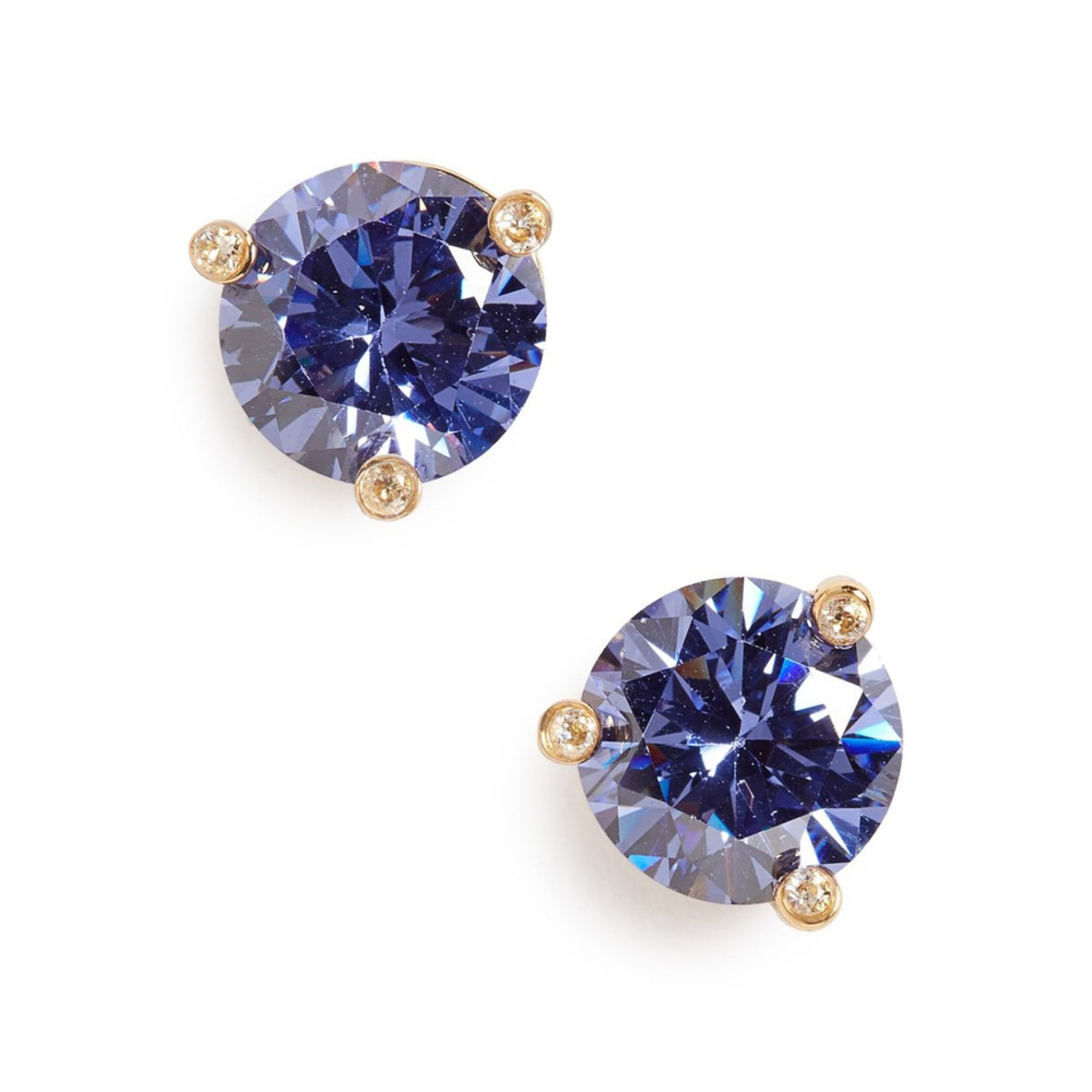 Kate Spade Rise And Shine Small Light Sapphire Stud Earrings Gold