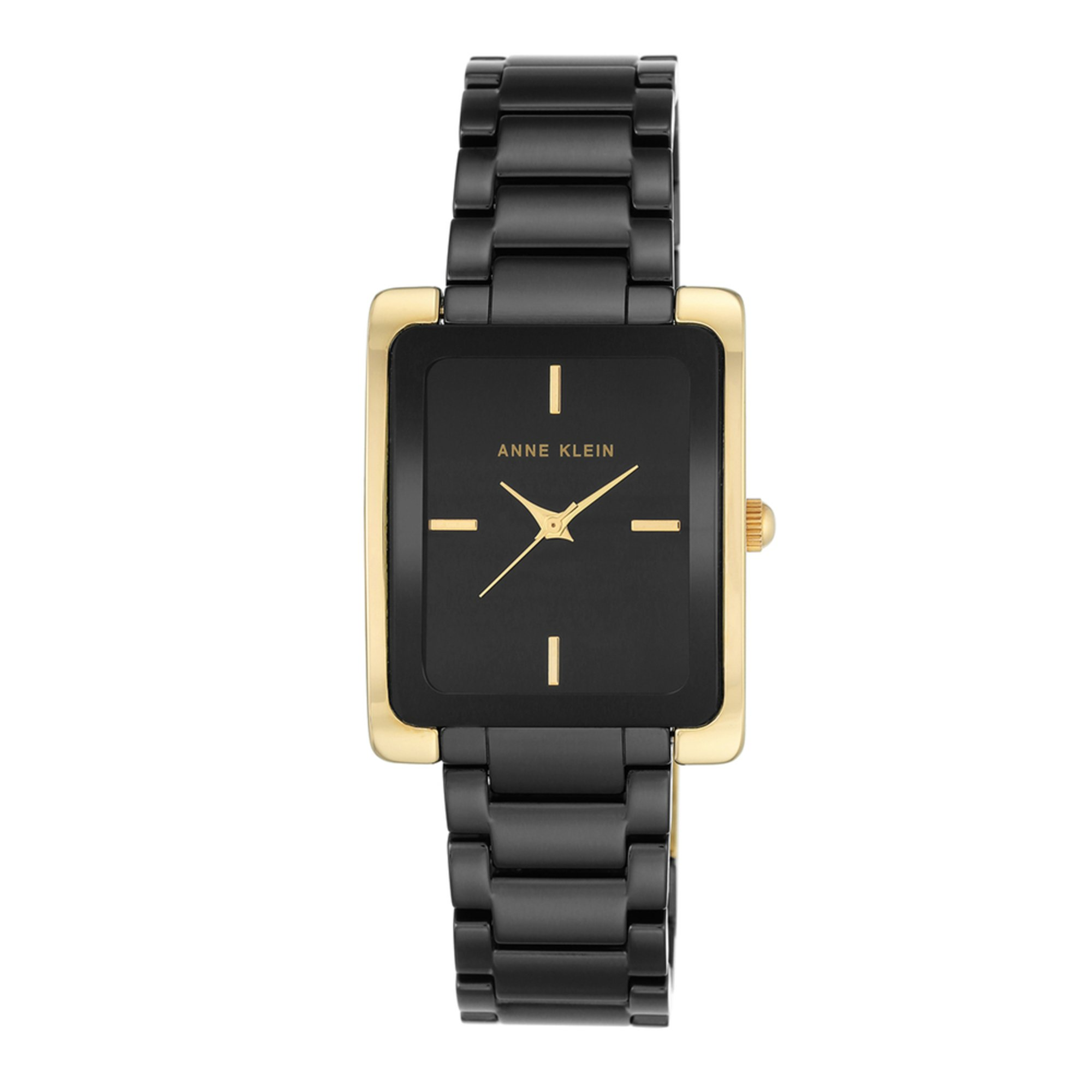Anne Klein Women S Rectangular Black Gold Watch 28mm