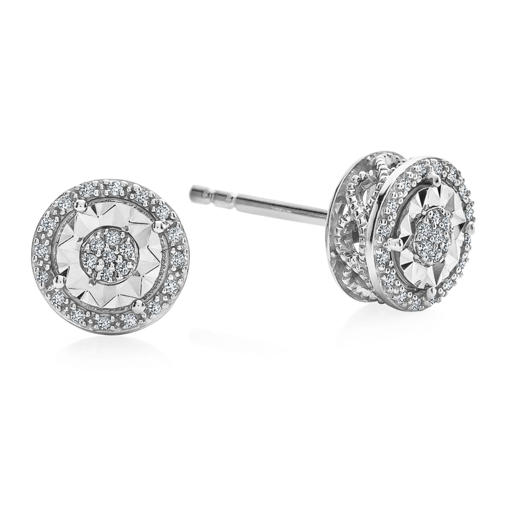 Diamond Miracle Framed Cer Stud Earrings 1 10 Cttw Sterling Silver
