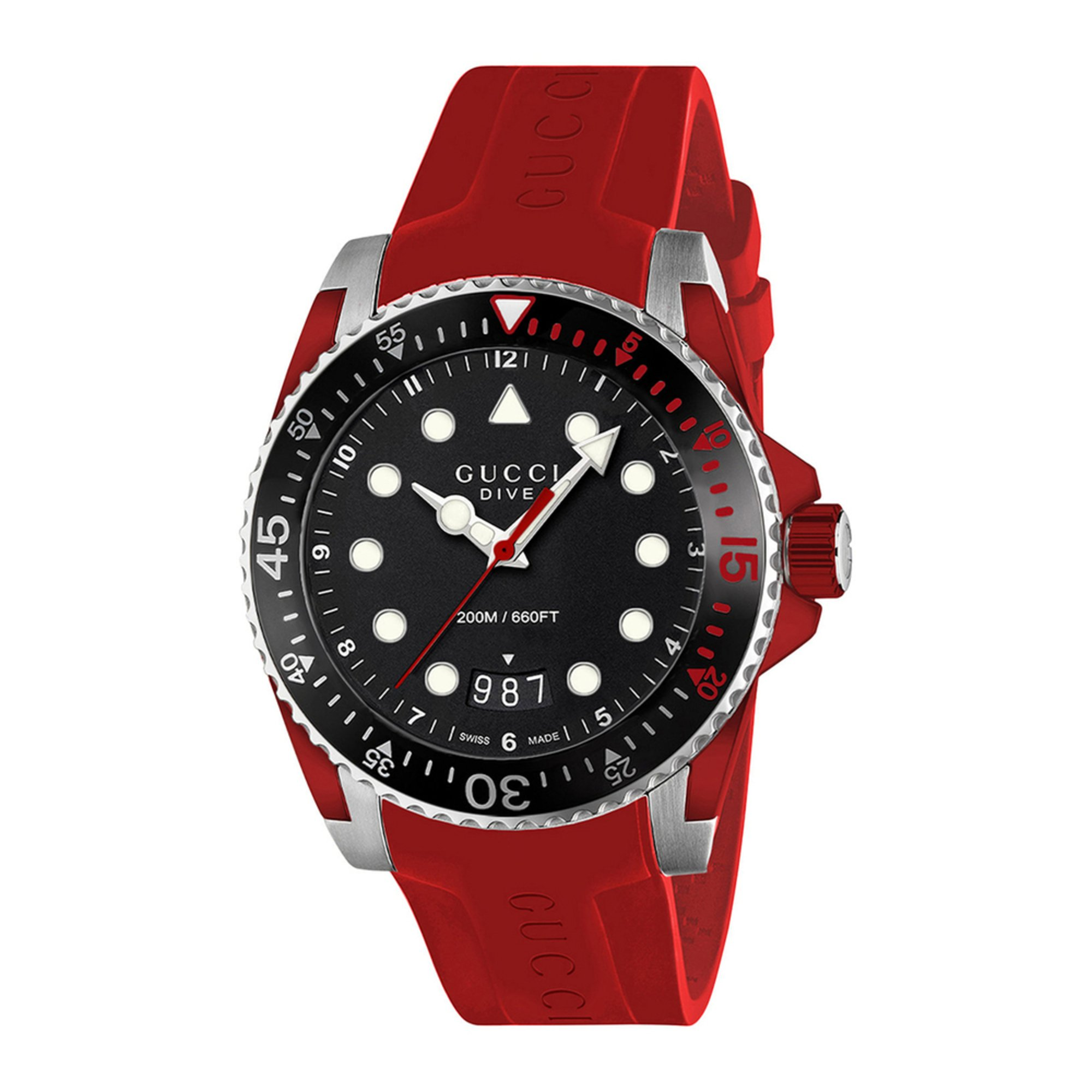 Gucci men 39 s swiss dive black red rubber strap watch 40mm - 40mm dive watch ...