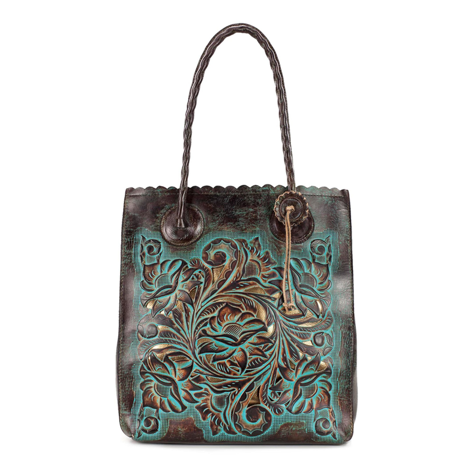 efc4f7245b0d Patricia Nash Turquoise Tooled Cavo Tote