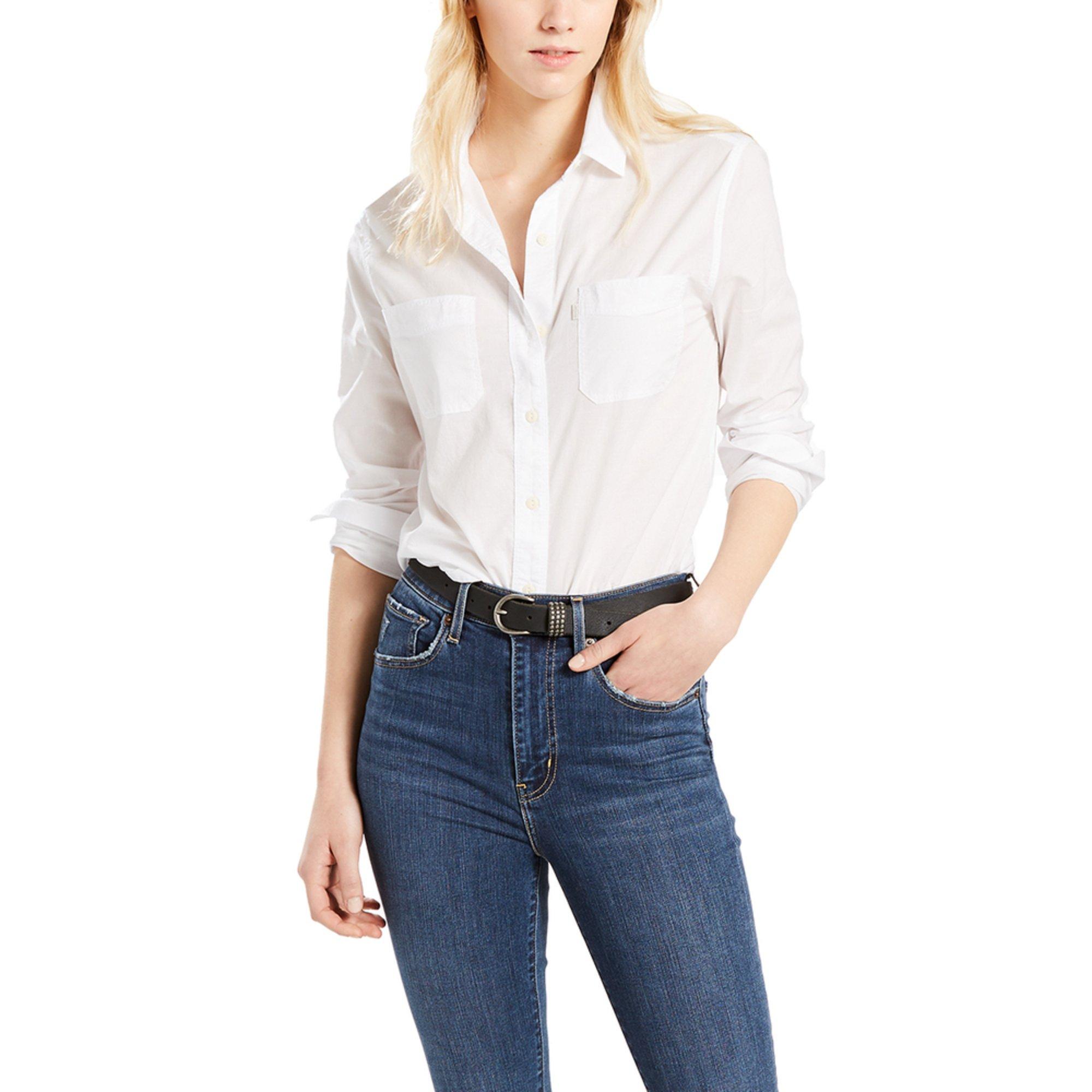Levis Womens Good Workwear Boyfriend Shirt In Bright White