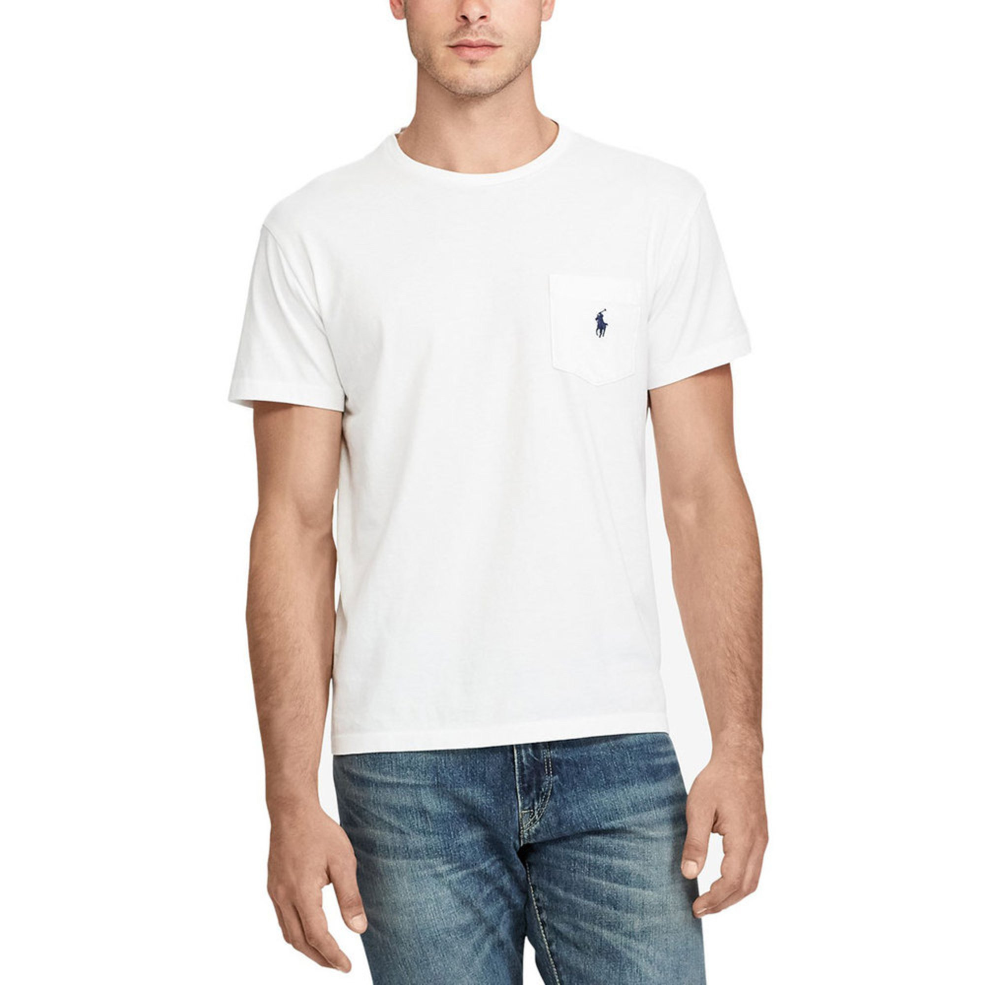 Polo Ralph Crew Sleeve Pocketed In White Short Lauren Neck Tee fb76gy