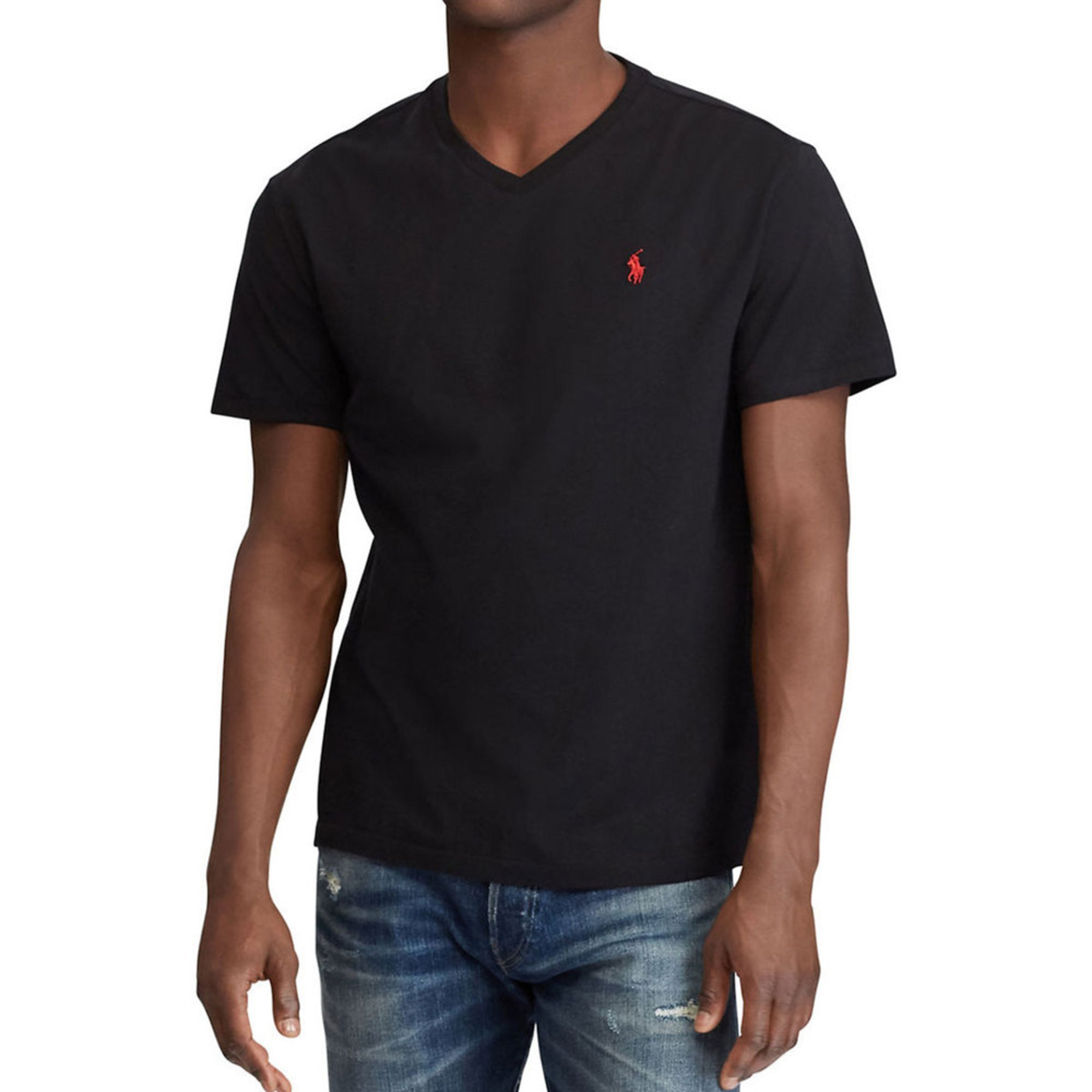 6d12138d9 Polo Ralph Lauren Short Sleeve V-neck Tee In Black | Casual & Dress ...