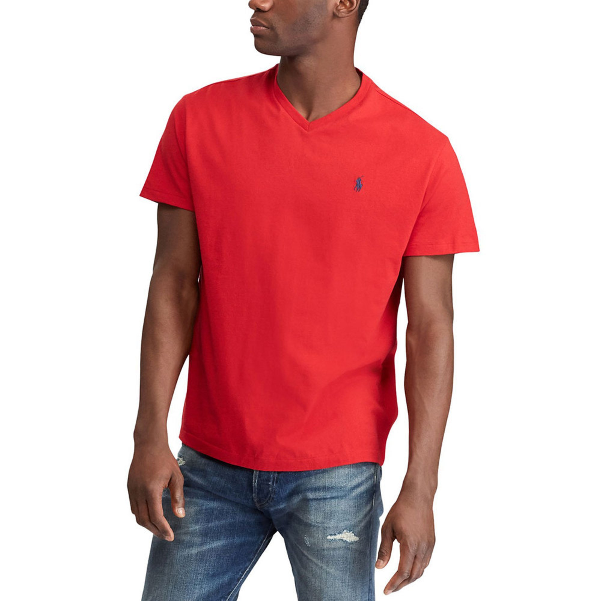 639548605 Polo Ralph Lauren Short Sleeve V-neck Tee In Red | Casual & Dress ...