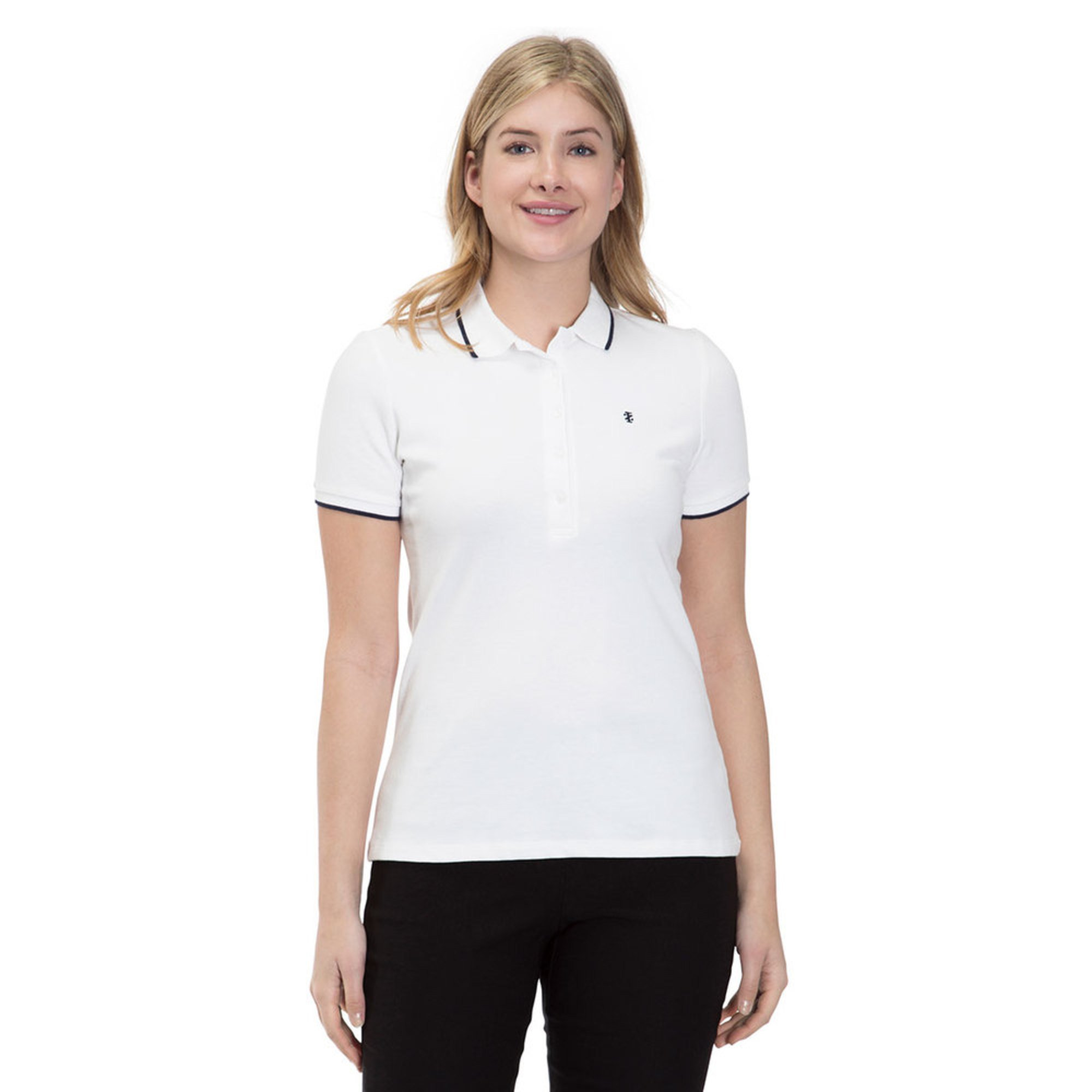Izod Womens Solid Slim Fit Polo In Bright White Casual Dress