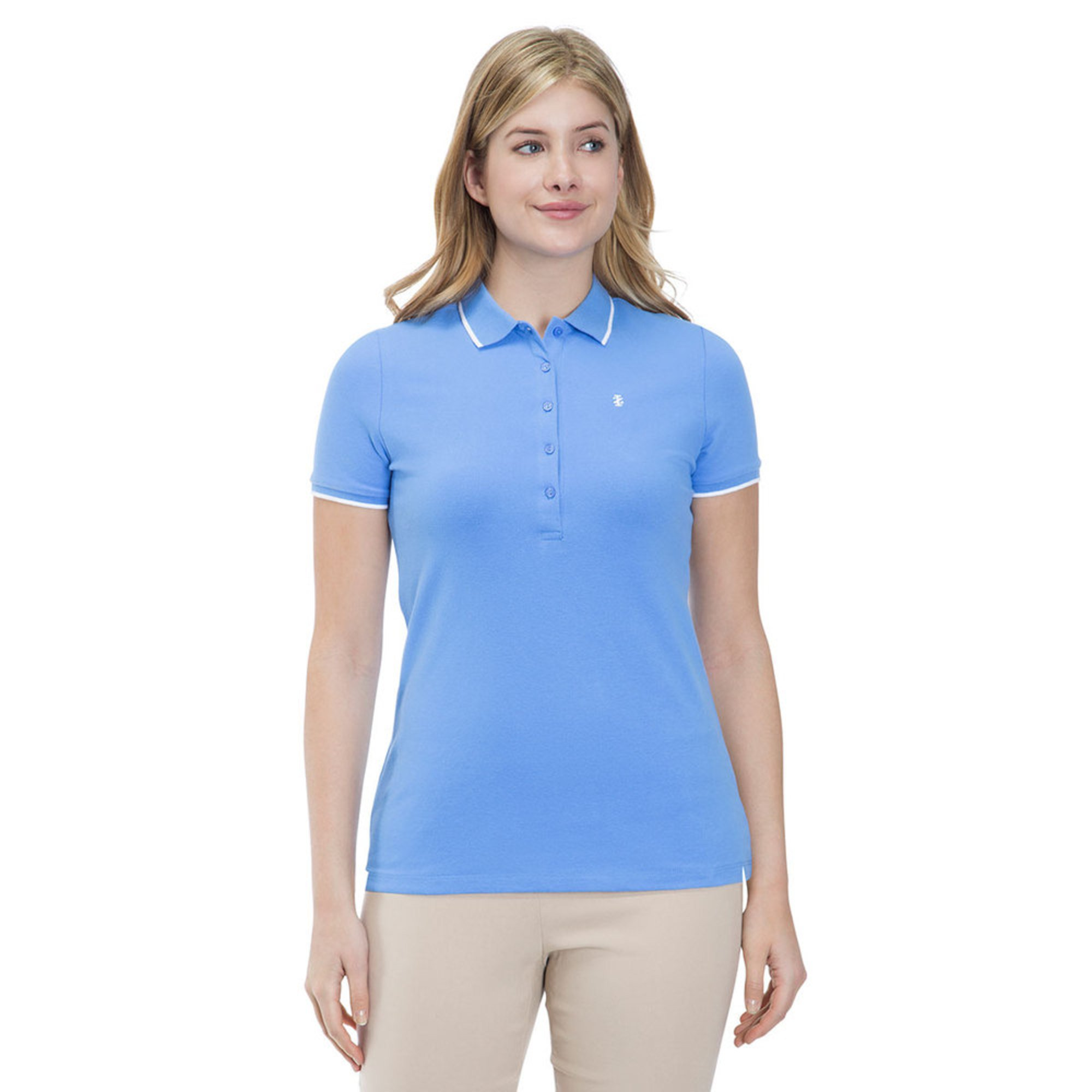 Izod Womens Solid Slim Fit Polo In Marina Casual Dress Polos