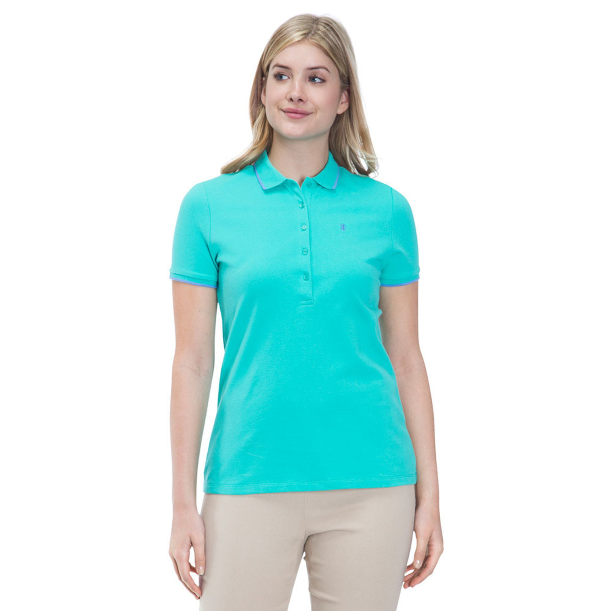 Izod Womens Solid Slim Fit Polo In Atlantis Green Casual Dress