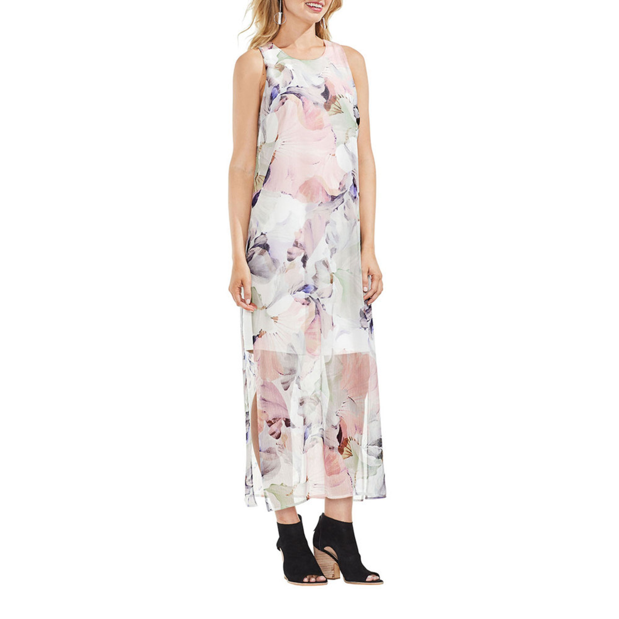 Vince Camuto Women\'s Watercolor Floral Chiffon Overlay Dress In New ...