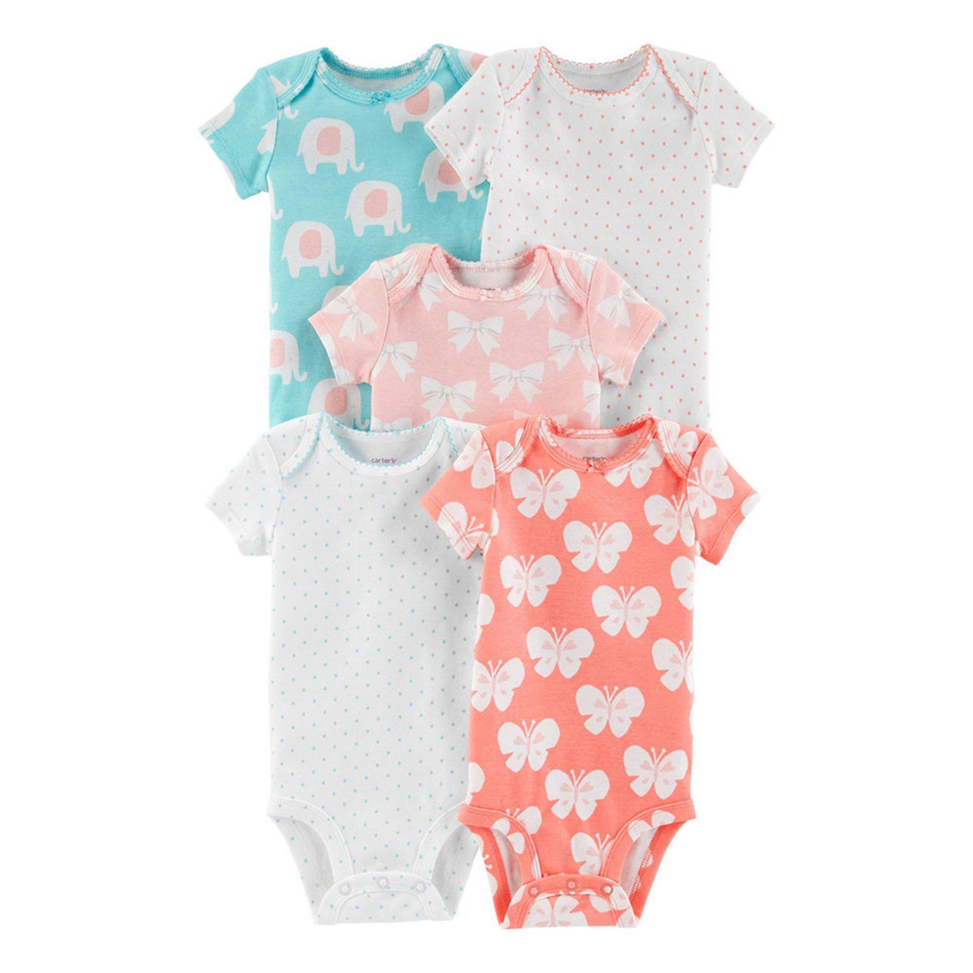 0fa4f49de Carter's Baby Girls' 5-pack Bodysuit Set   Baby Girls' One Piece ...