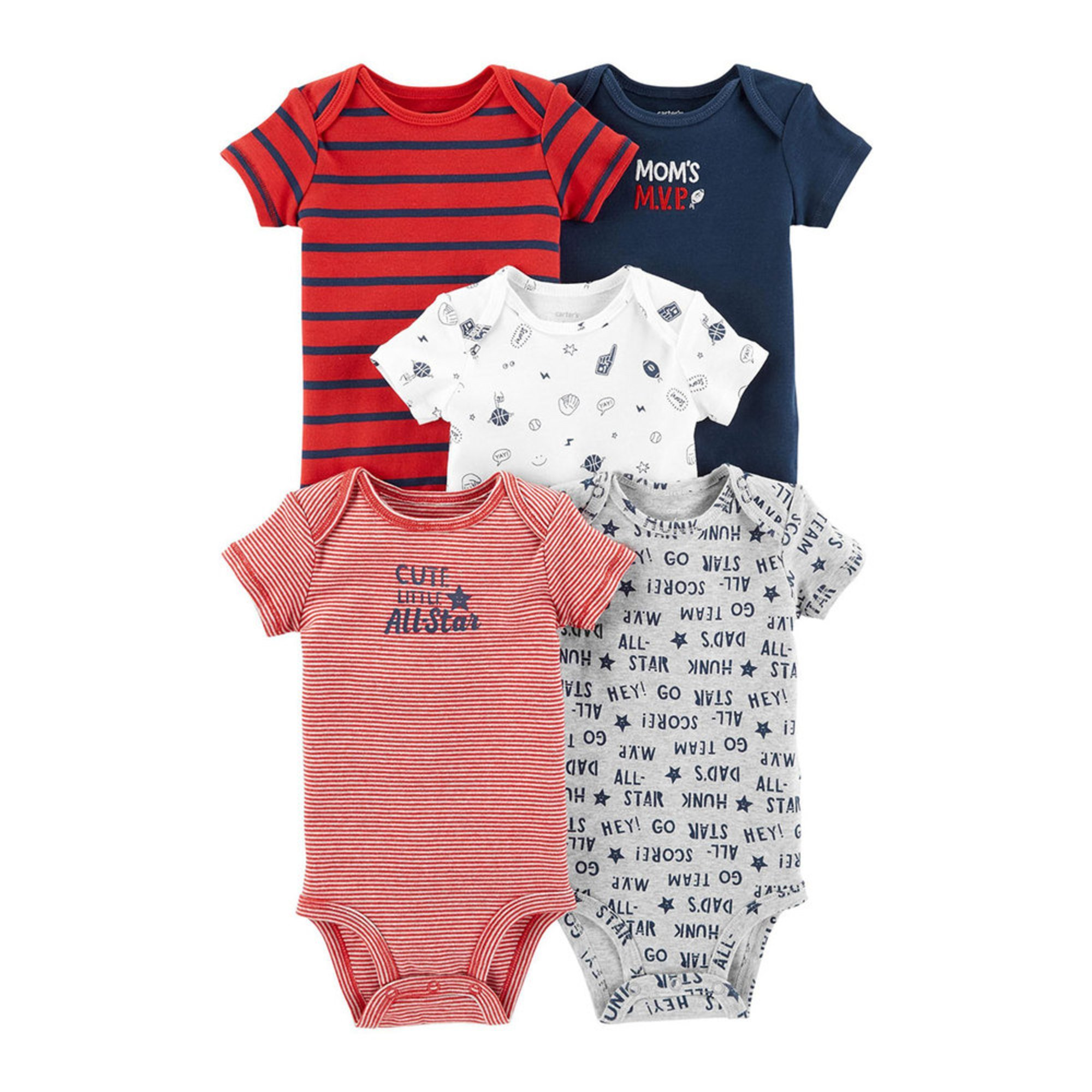 06fb7252e Carter's Baby Boys' 5-pack Bodysuit Set | Baby Boys' One Piece ...