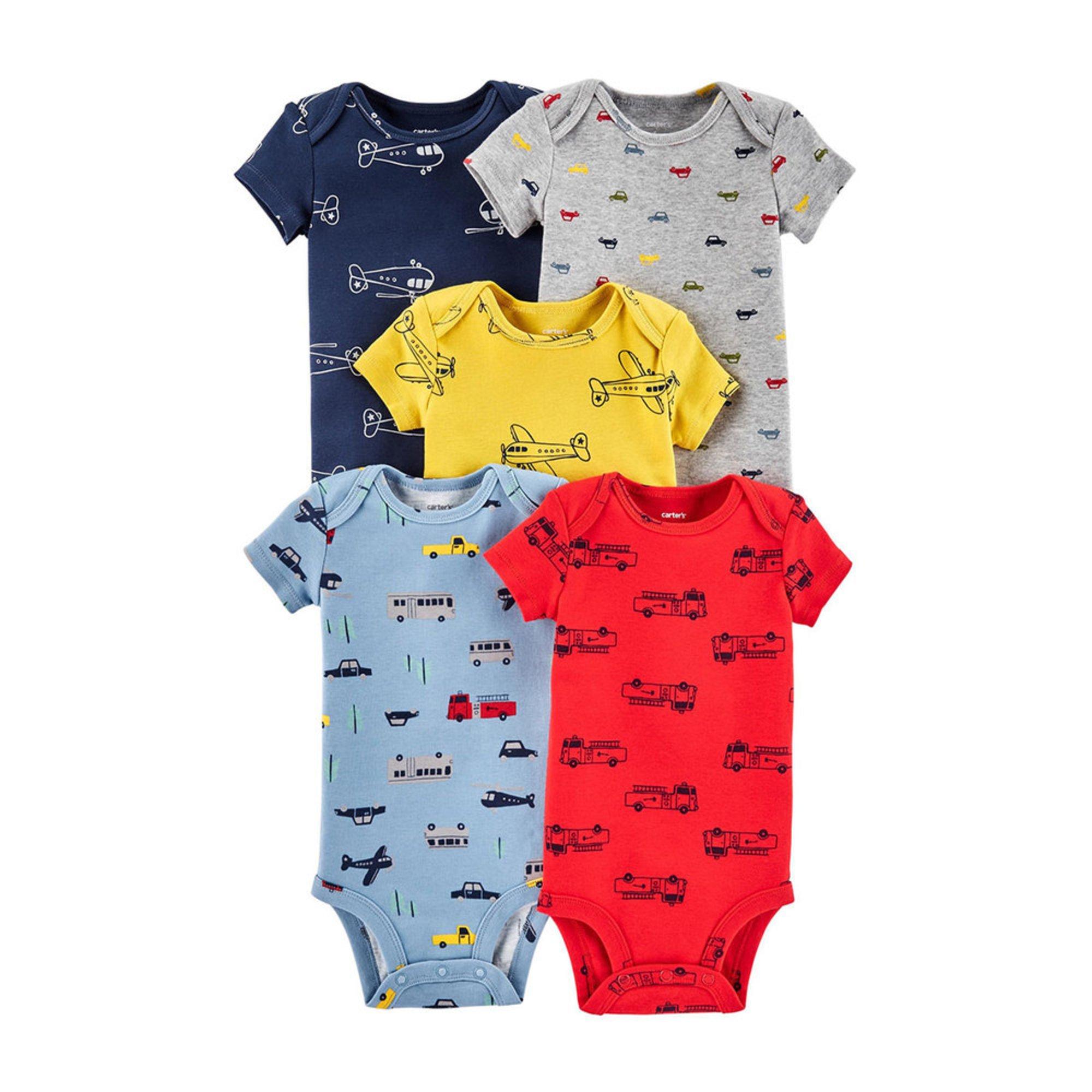 aa3170a52 Carter's Baby Boys' 5-pack Short Sleeve Bodysuit Set | Baby Boys ...